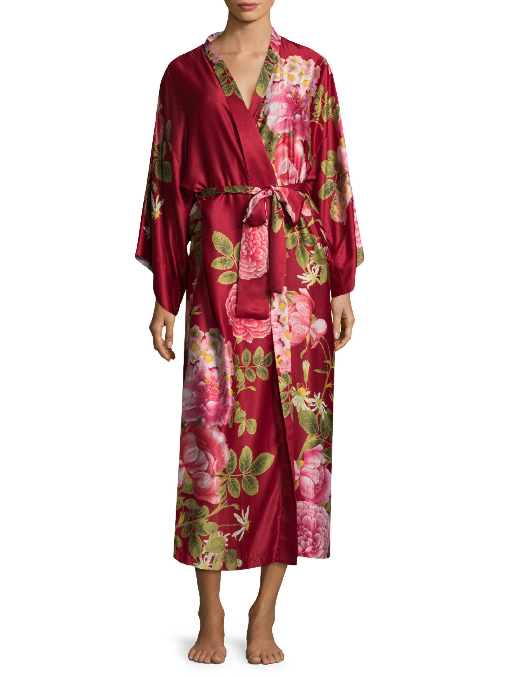 Lyst natori printed long sleeve robe in red for Saks 5th avenue robes de mariage