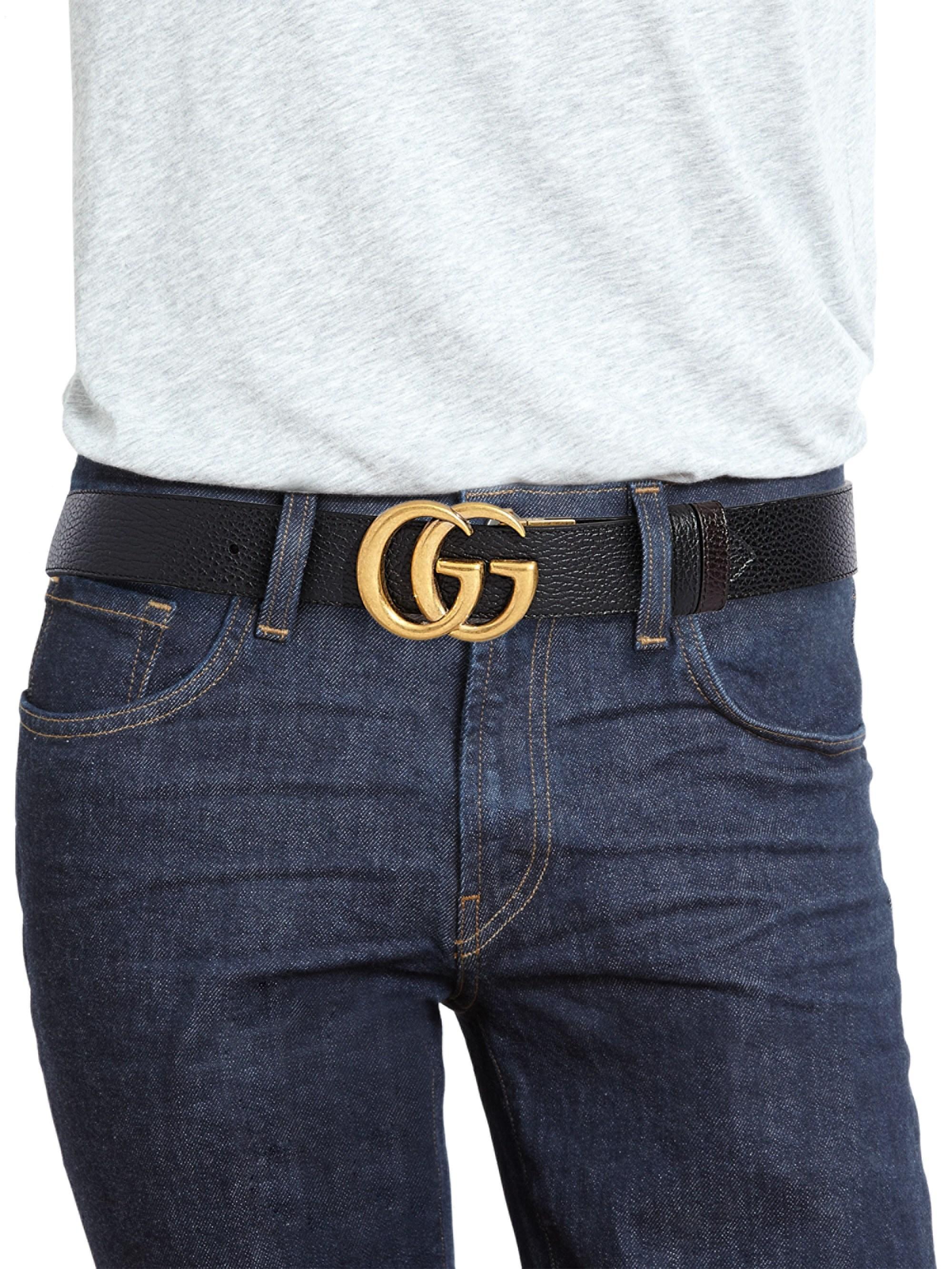 320cdf746 Gucci Interlocking GG Reversible Leather Belt for Men - Lyst