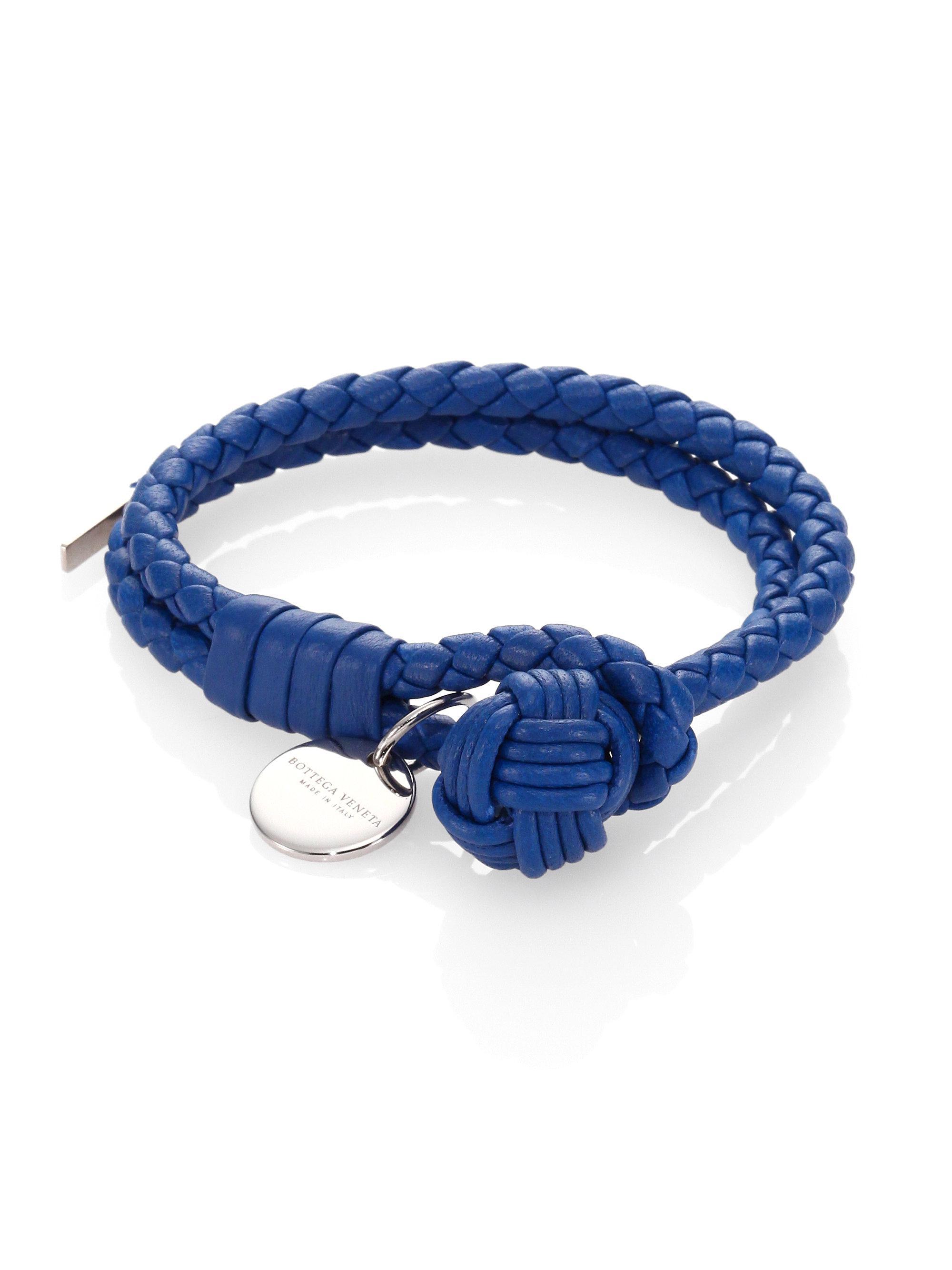 Blue Intrecciato Double Wrap Bracelet Bottega Veneta xKSBtrNeZ
