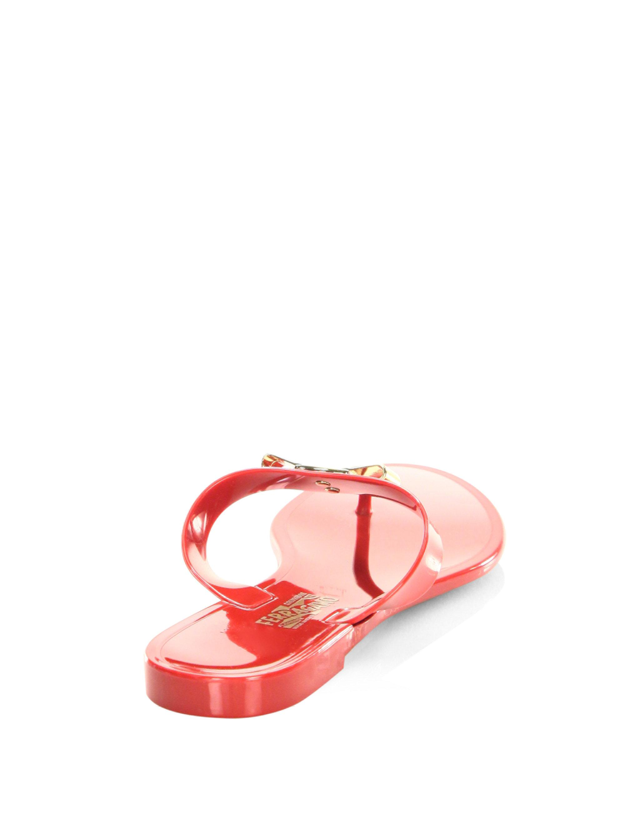 dcaab66d872 Lyst - Ferragamo Farelia Slip-on Flip Flops in Red