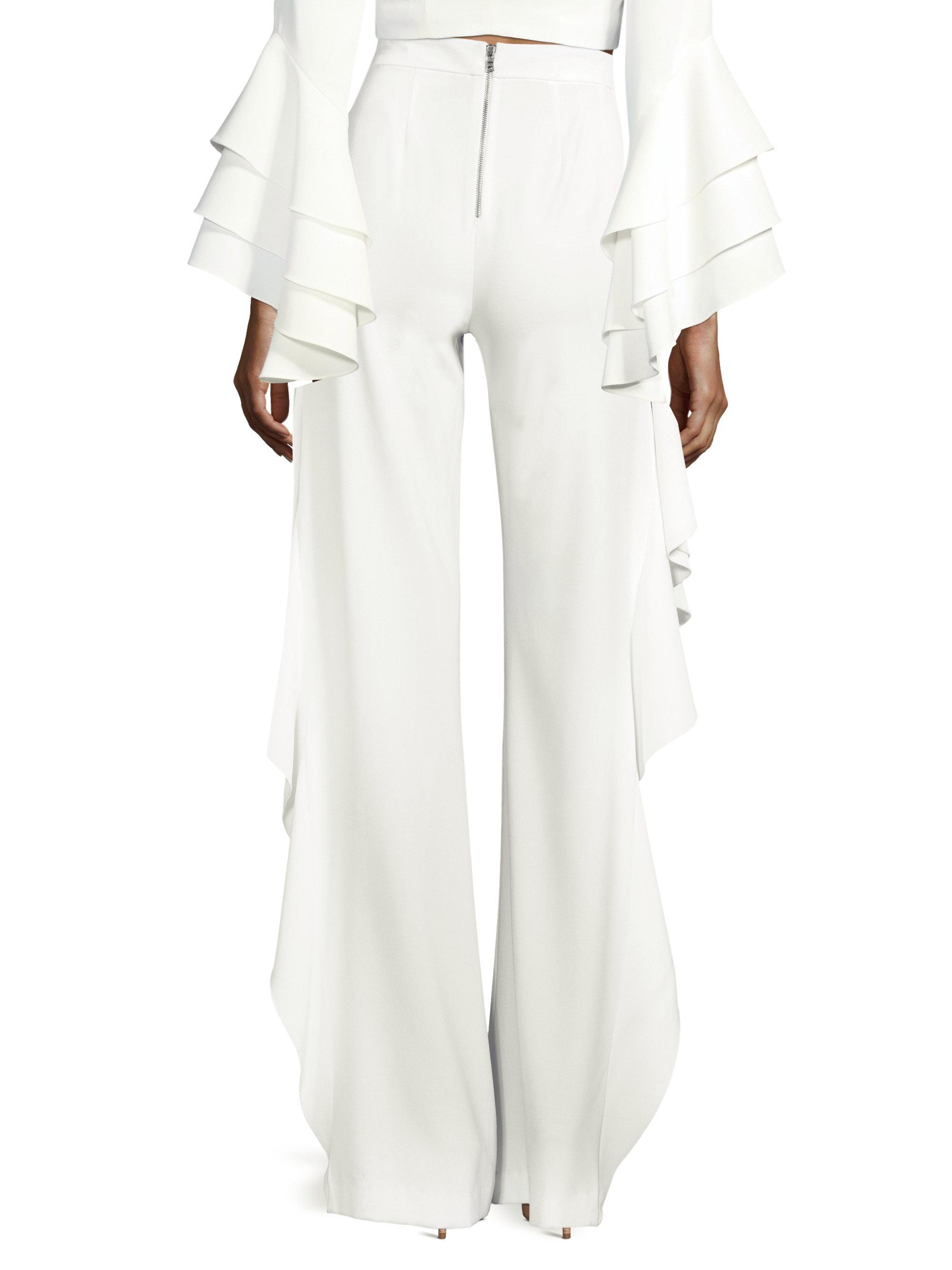 782493d9dc3d30 Alice + Olivia Estell Ruffle Slit Flared-leg Pants in White - Lyst