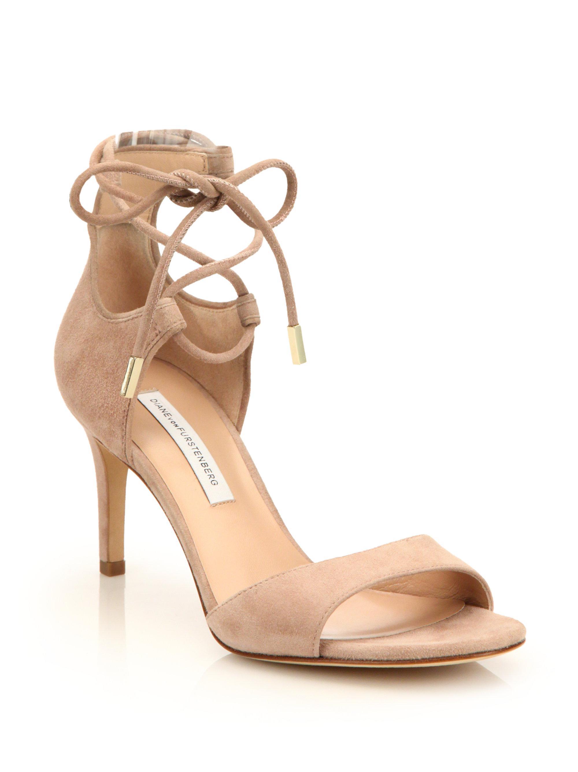 Diane von Furstenberg Suede Lace-Up Sandals visit new YWtVvgU