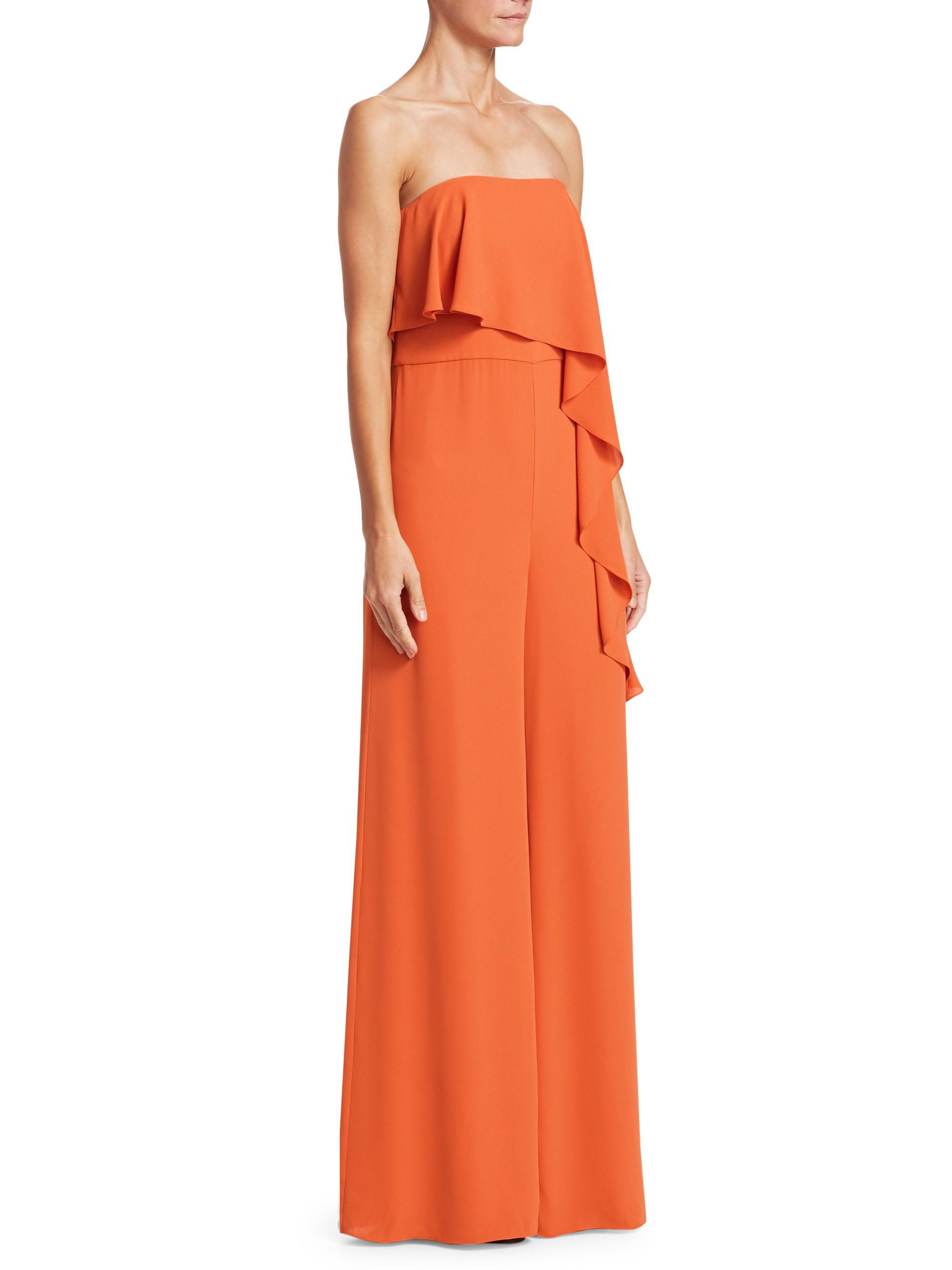cf7407fe28e3 Lyst - Halston Heritage Strapless Ruffle Wide-leg Jumpsuit in Orange