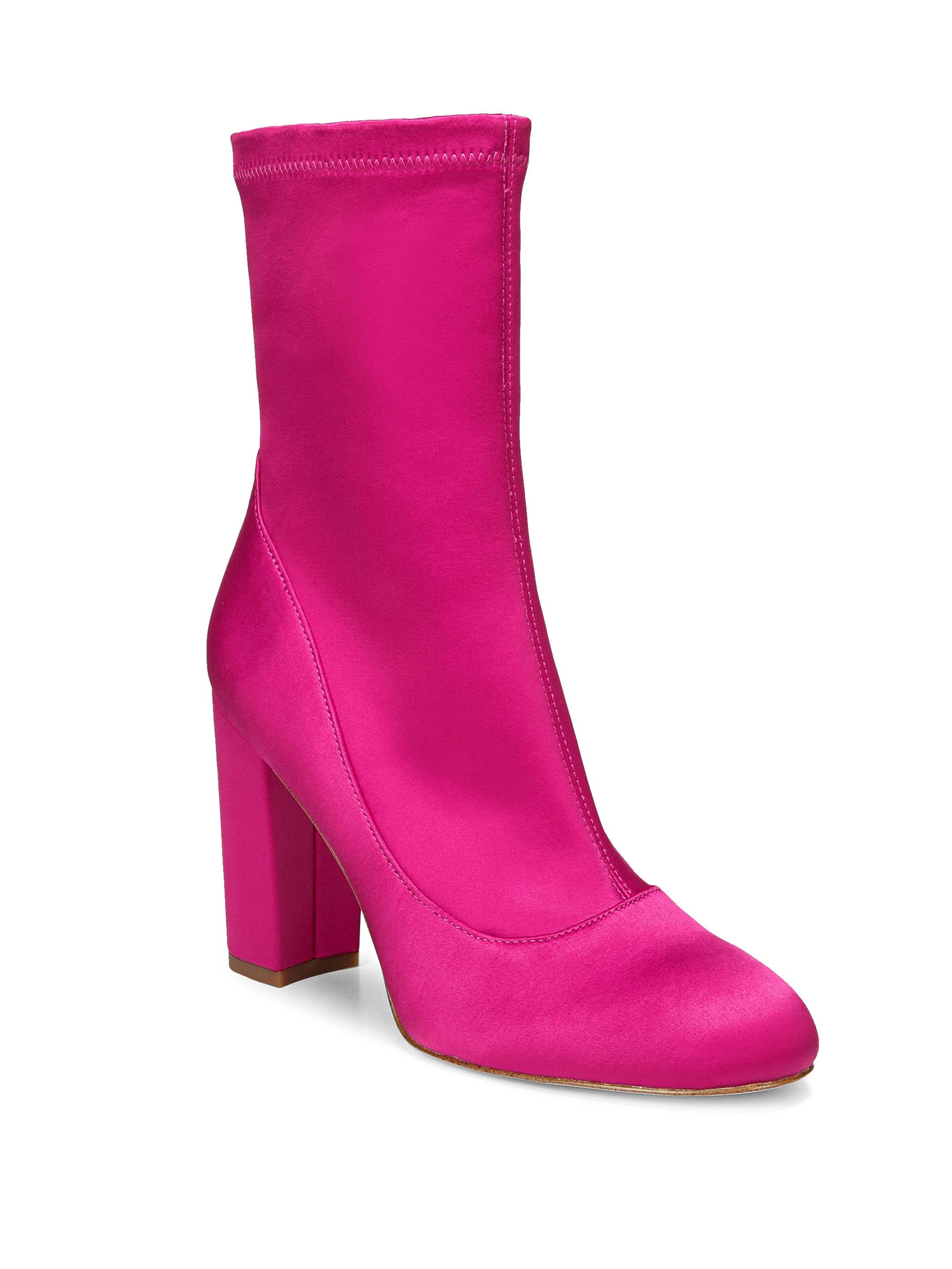 ab2f7635cc85b Lyst - Sam Edelman Satin Sock Booties in Pink
