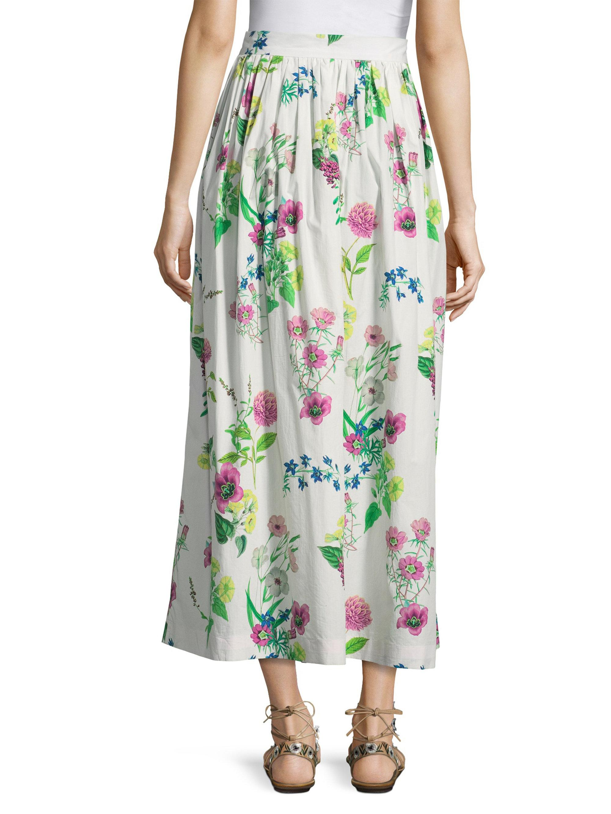 c019aec48a2732 Lyst - MDS Stripes Floral Maxi Skirt in Green