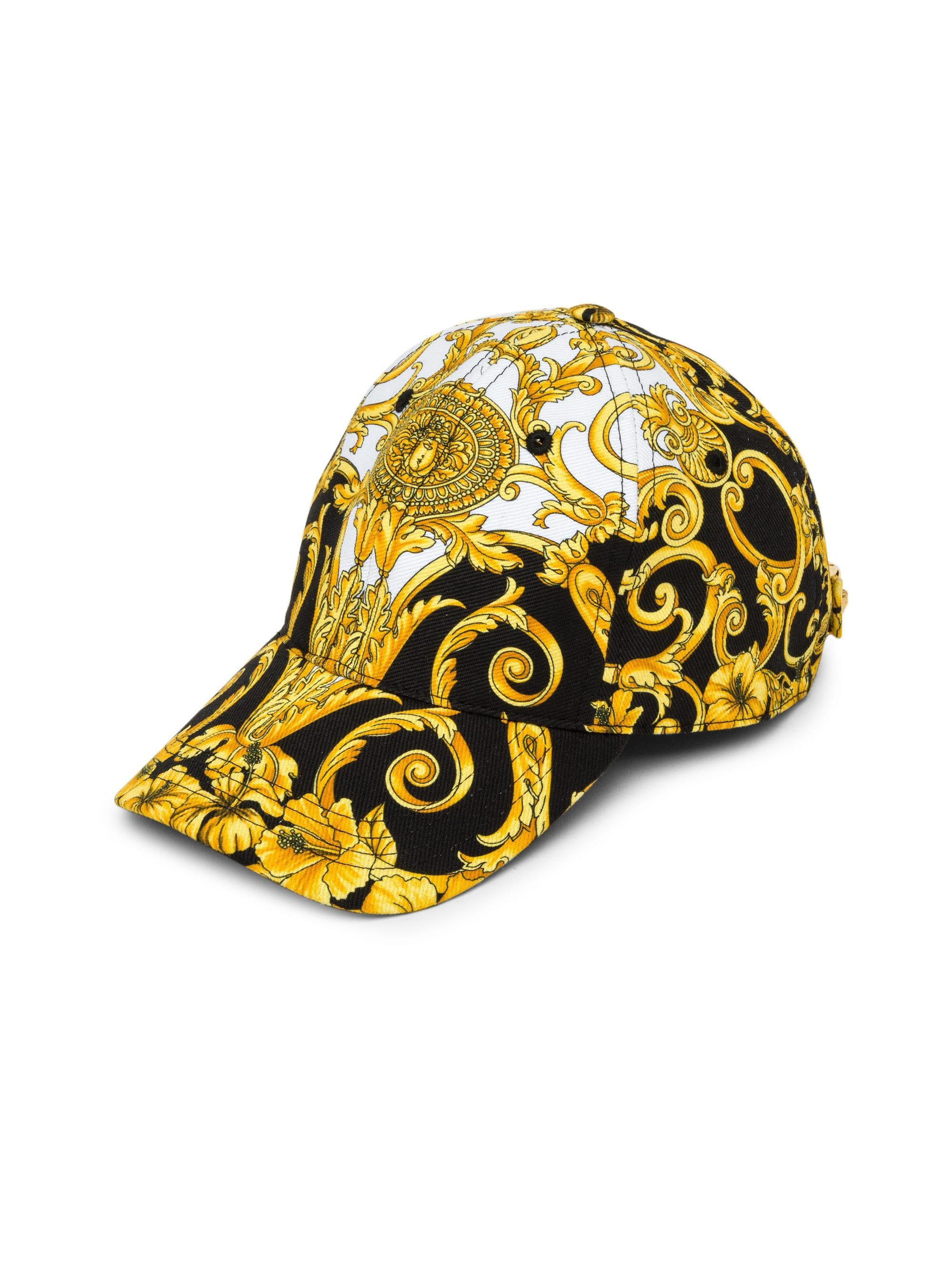 2e52da69cb0 Lyst - Versace Men s Barocco Hibiscus Print Hat - Black - Size 59 (l ...