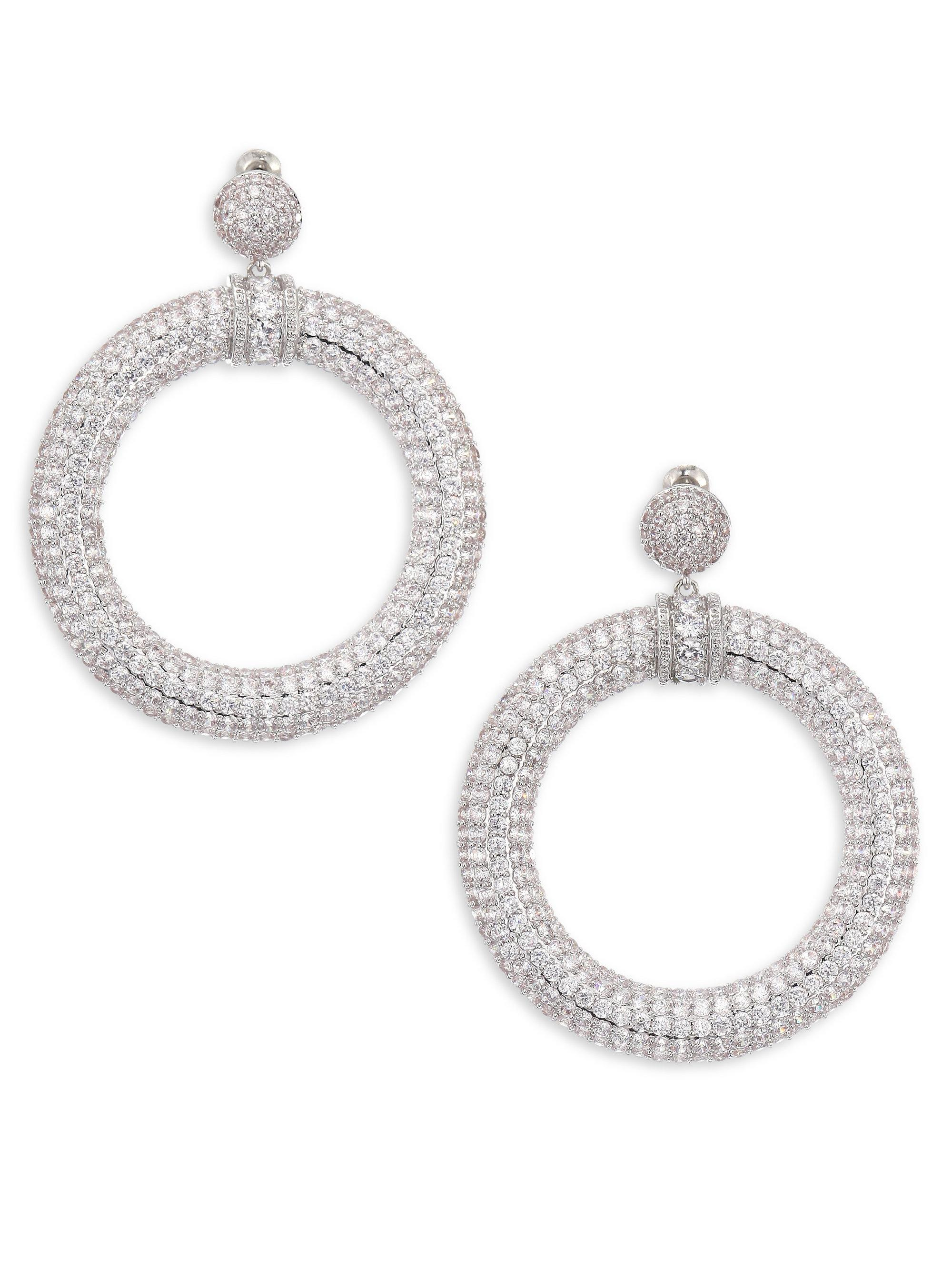 Fallon Armure Pavé Macro Hoop Earrings 959AMx