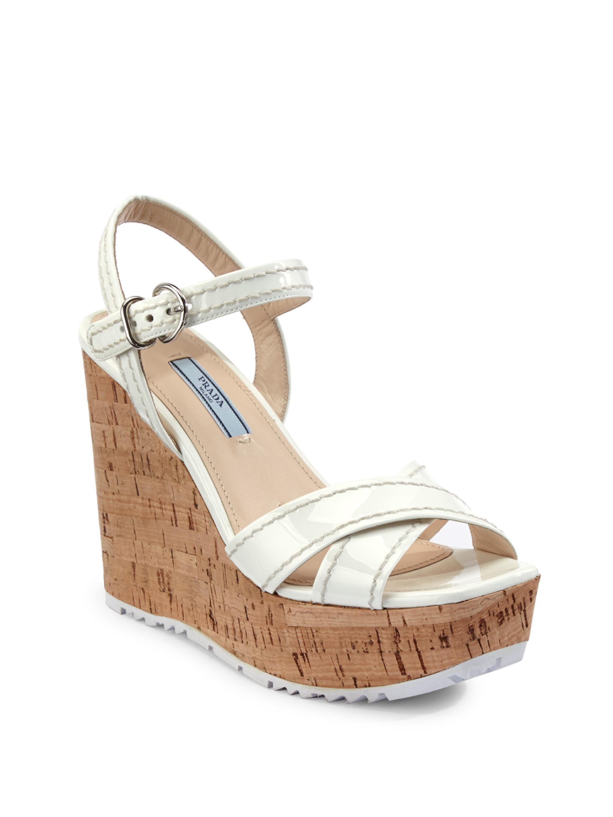 ff28ef93d875 Lyst - Prada Leather Platform Wedge Sandals in Metallic