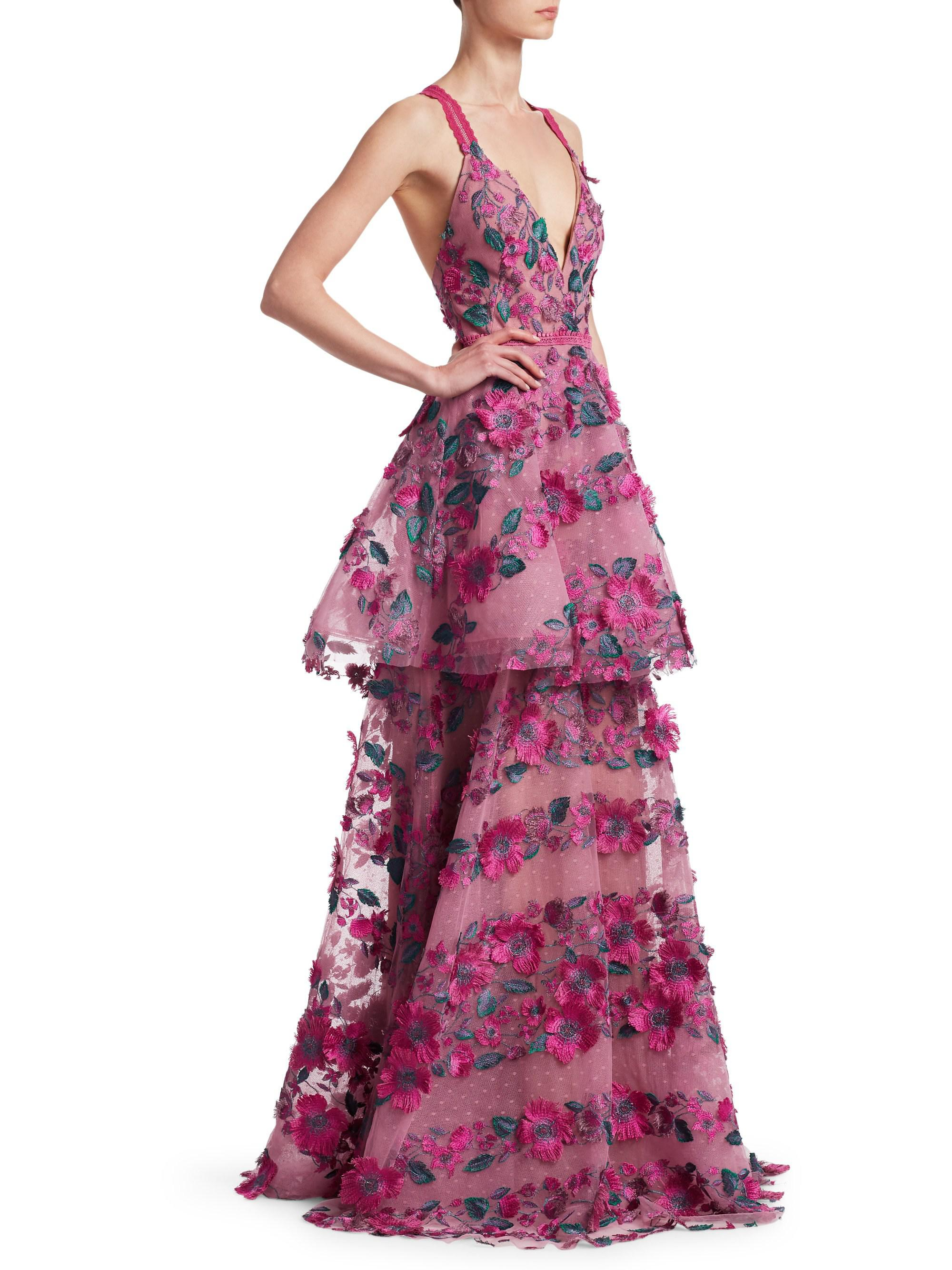 53f1f8c5 Marchesa notte Floral Embroidered Tiered Mesh Gown in Pink - Lyst