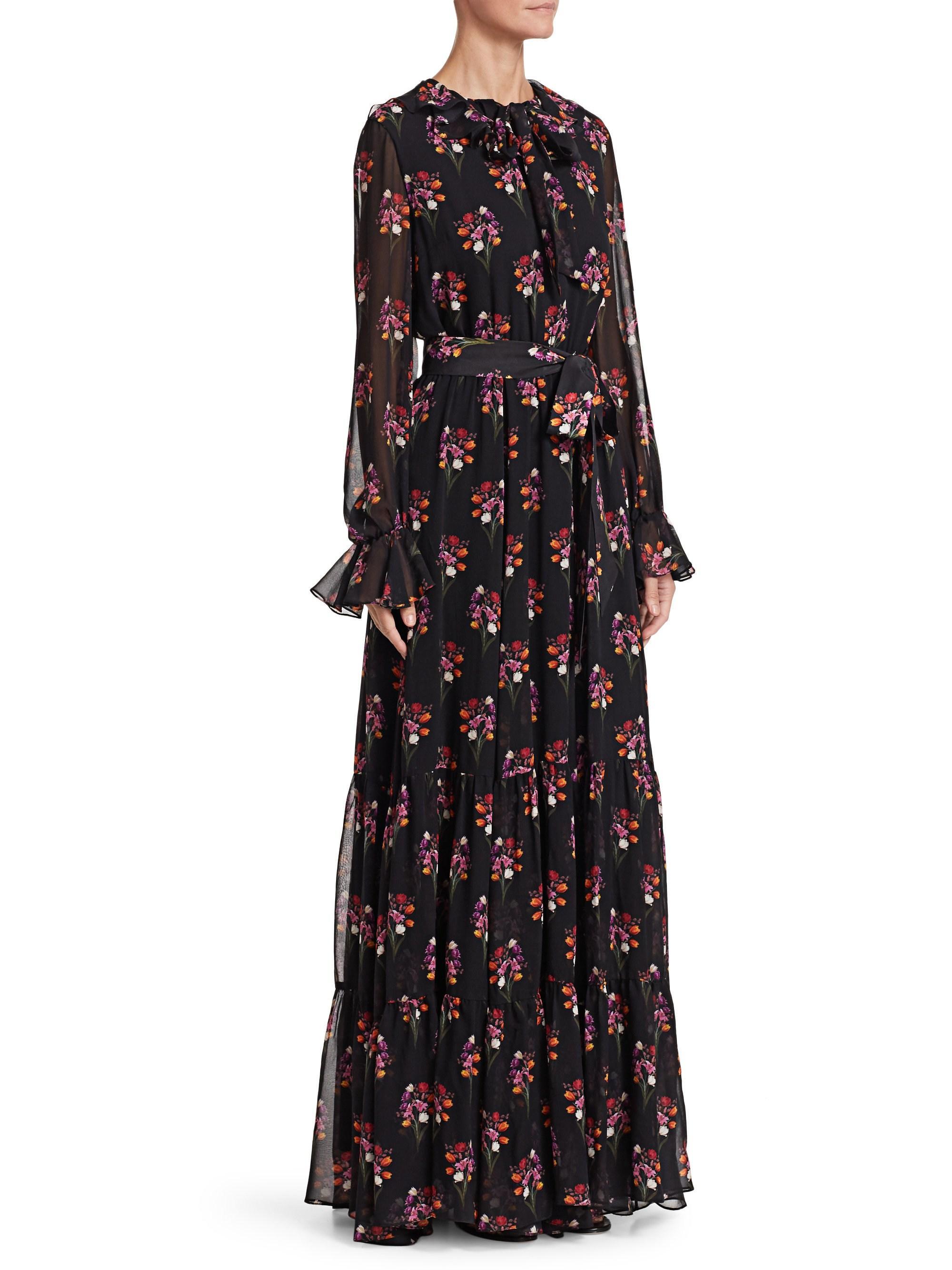 4578bc928ba5 Lyst - Borgo De Nor Anna Silk Floral Gown in Black