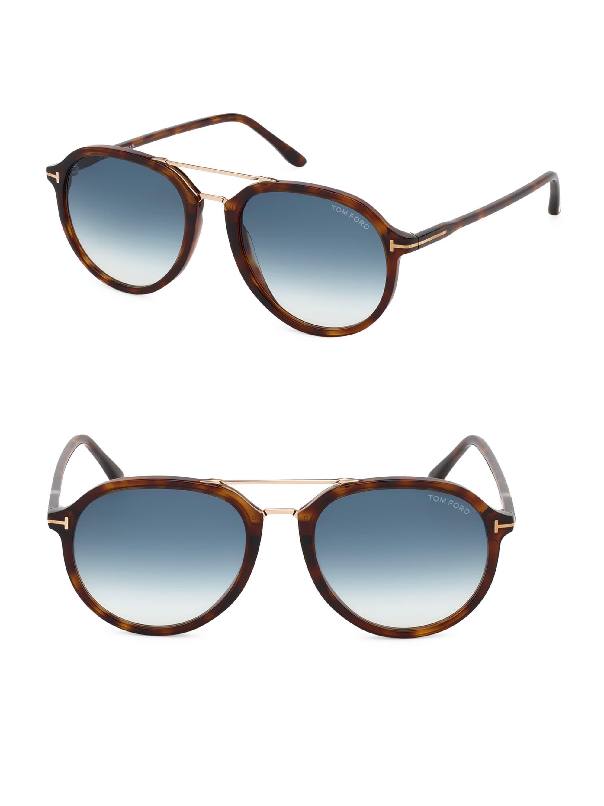 e27750bb50dc3 Tom Ford - Men s Rupert 55mm Round Aviator Sunglasses - Brown for Men -  Lyst. View fullscreen