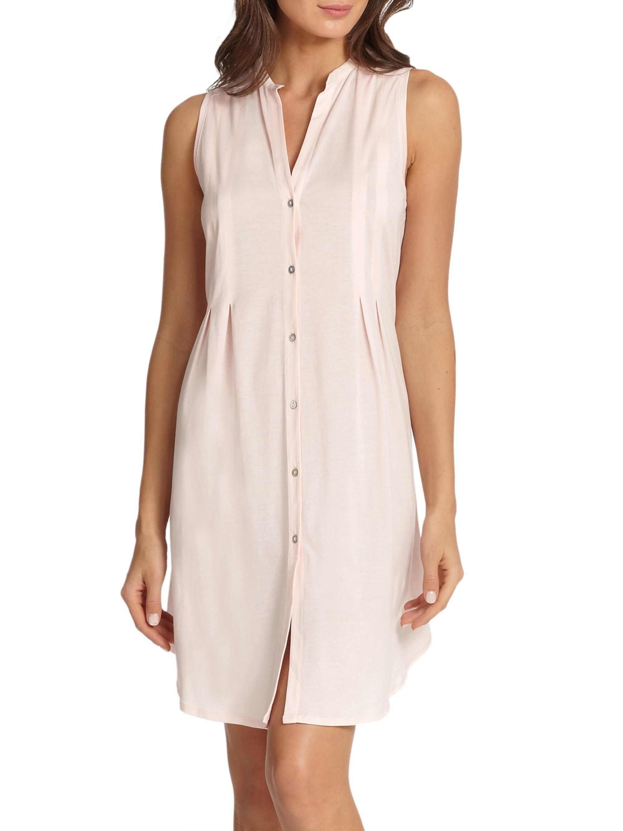 a79b97a116 Hanro Cotton Deluxe Button-front Tank Gown in Pink - Save 23% - Lyst