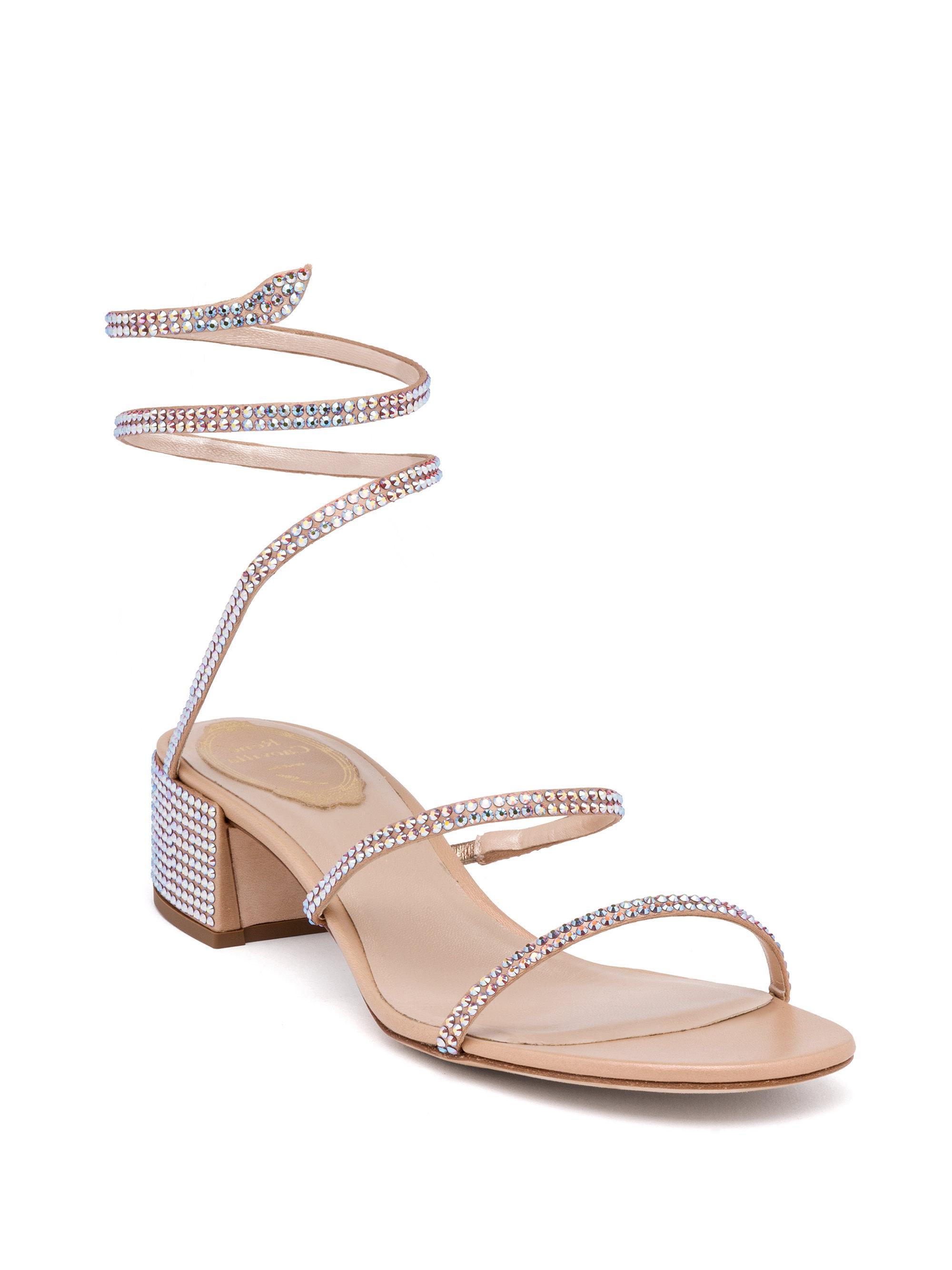 8901490523ea0a Lyst - Rene Caovilla Wraparound Swarovski Sandals in Pink