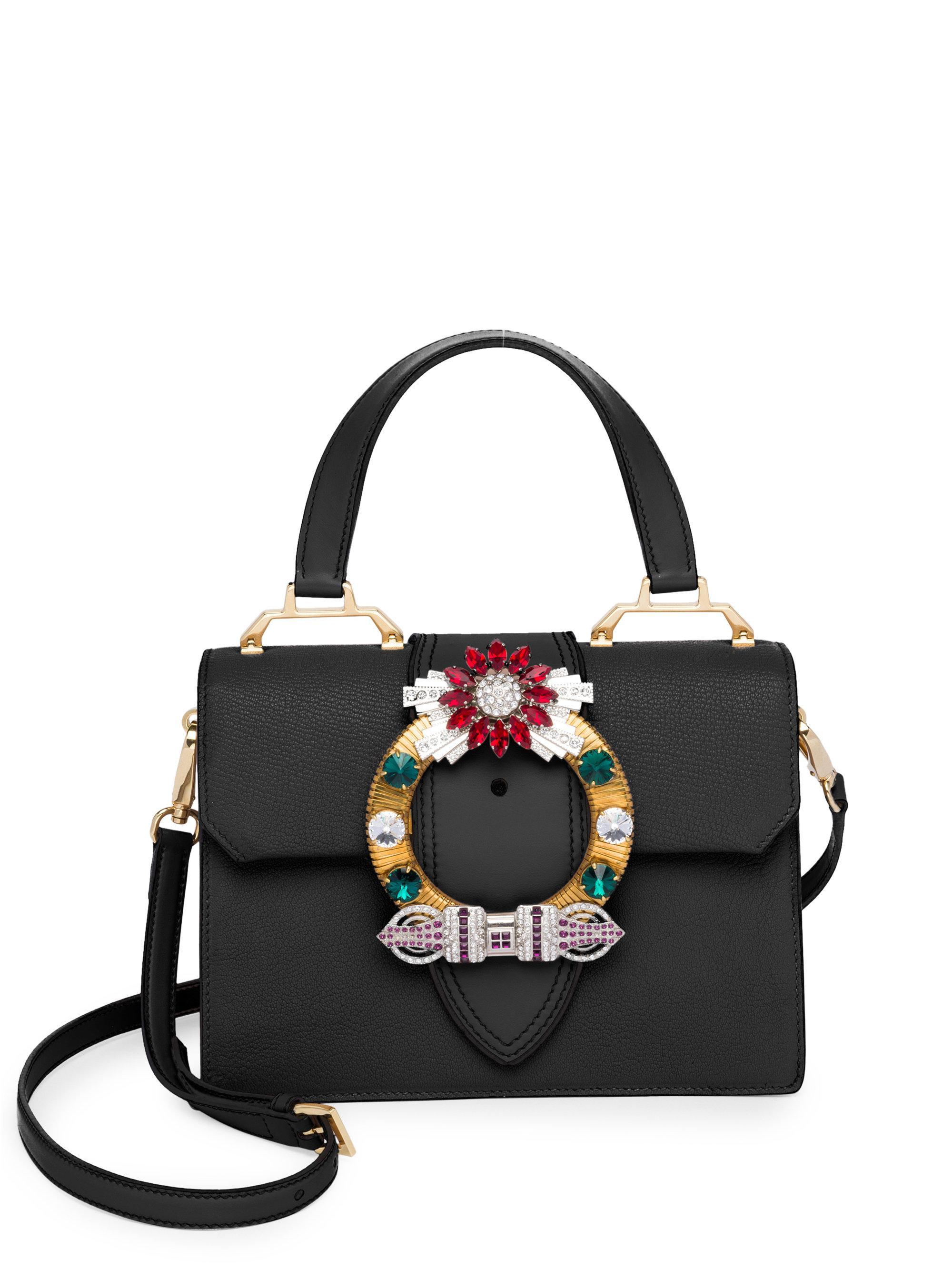 609e8378be5 Lyst - Miu Miu Crystal-embellished Leather Top Handle Bag in Black