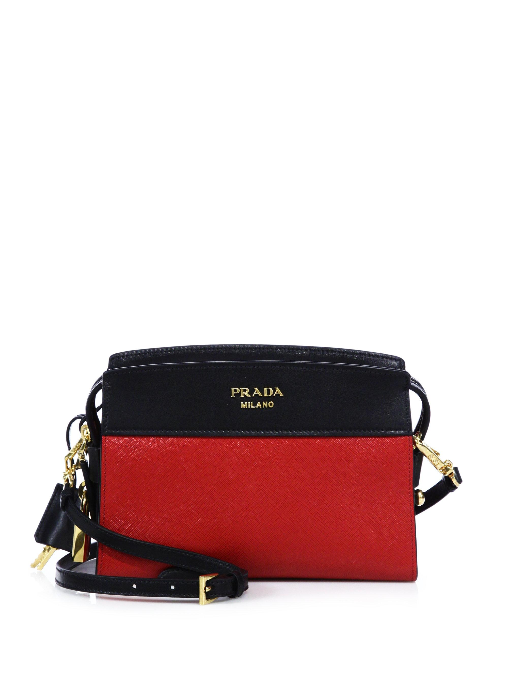 4196a5194490 ... cheap lyst prada esplanade leather shoulder bag in red 25121 4b965