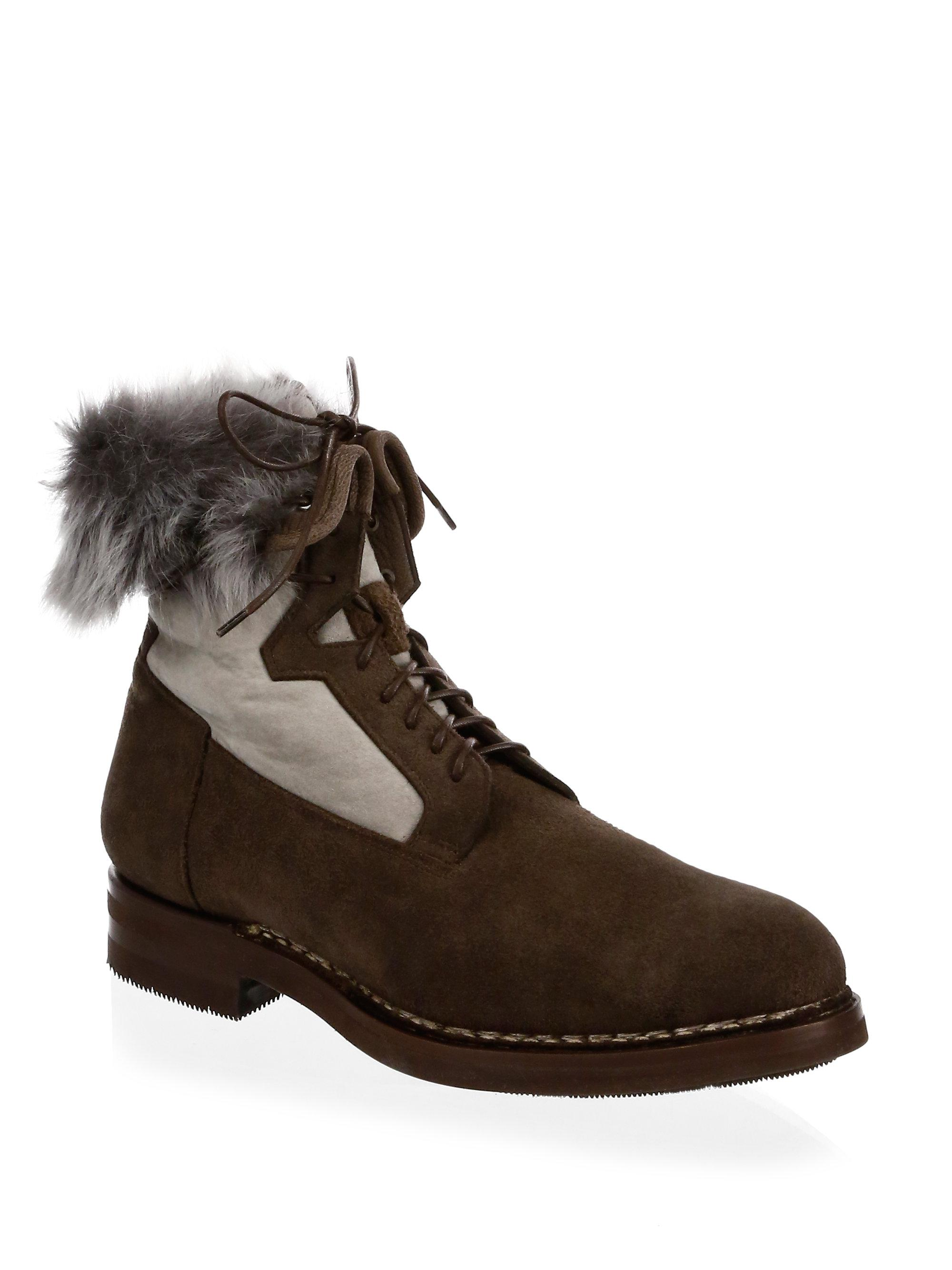 santoni Shearling-Lined Suede Ankle Boots KtZJOO3