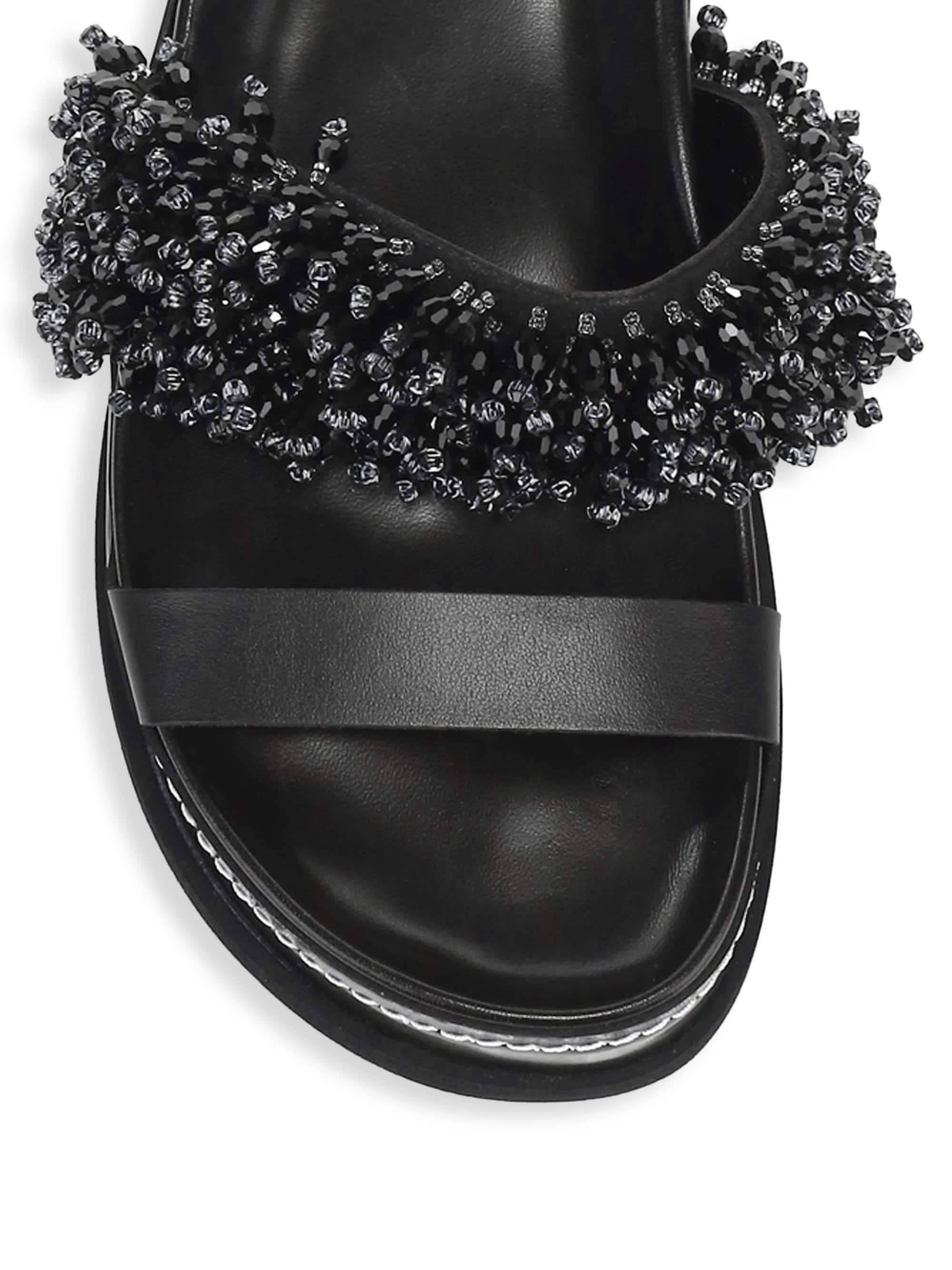 306286d3fcc0c1 Lyst - 3.1 Phillip Lim Freida Beaded Platform Slides in Black
