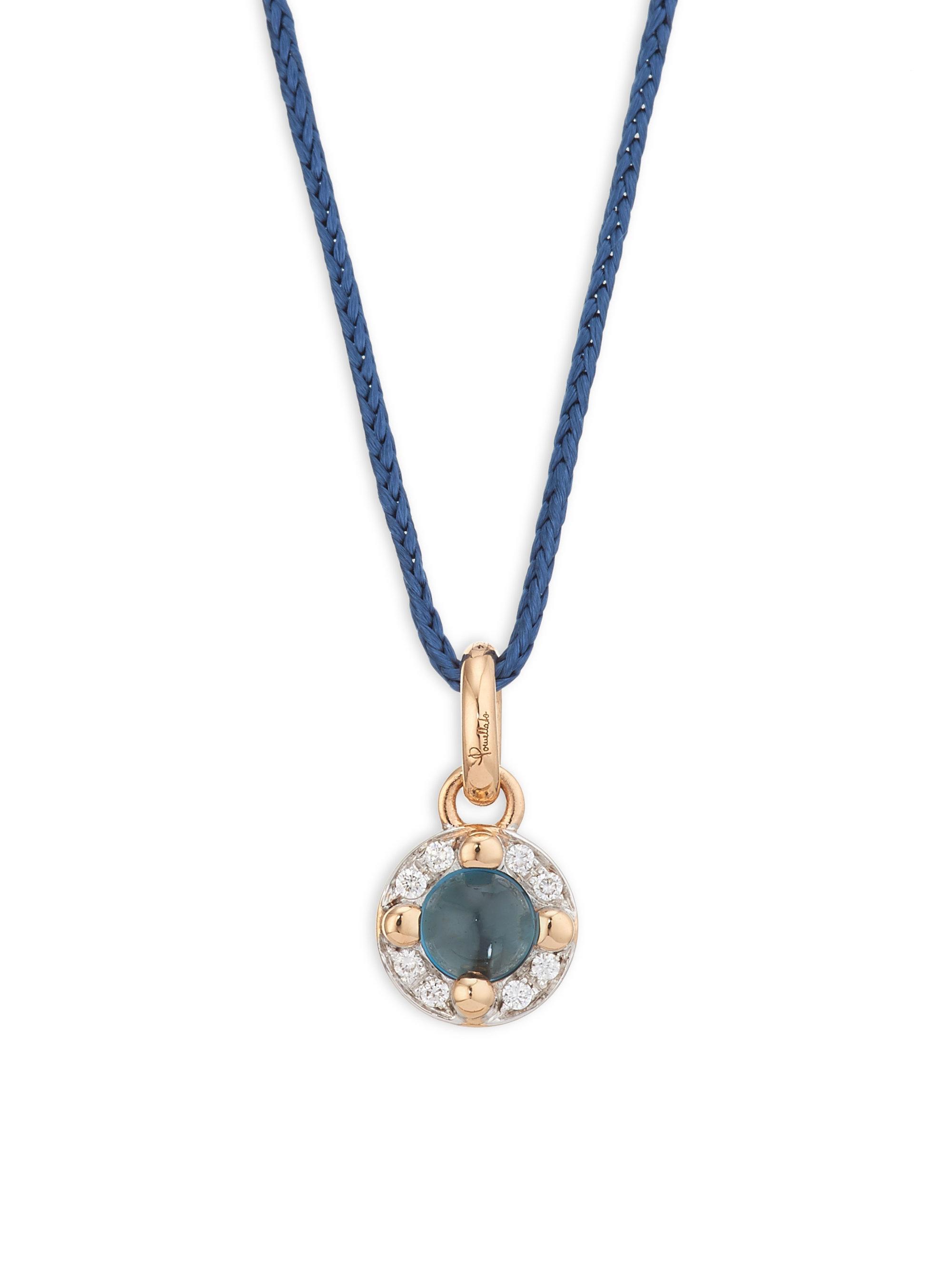 Lyst pomellato mama non mama 18k rose gold blue topaz diamond view fullscreen aloadofball Image collections