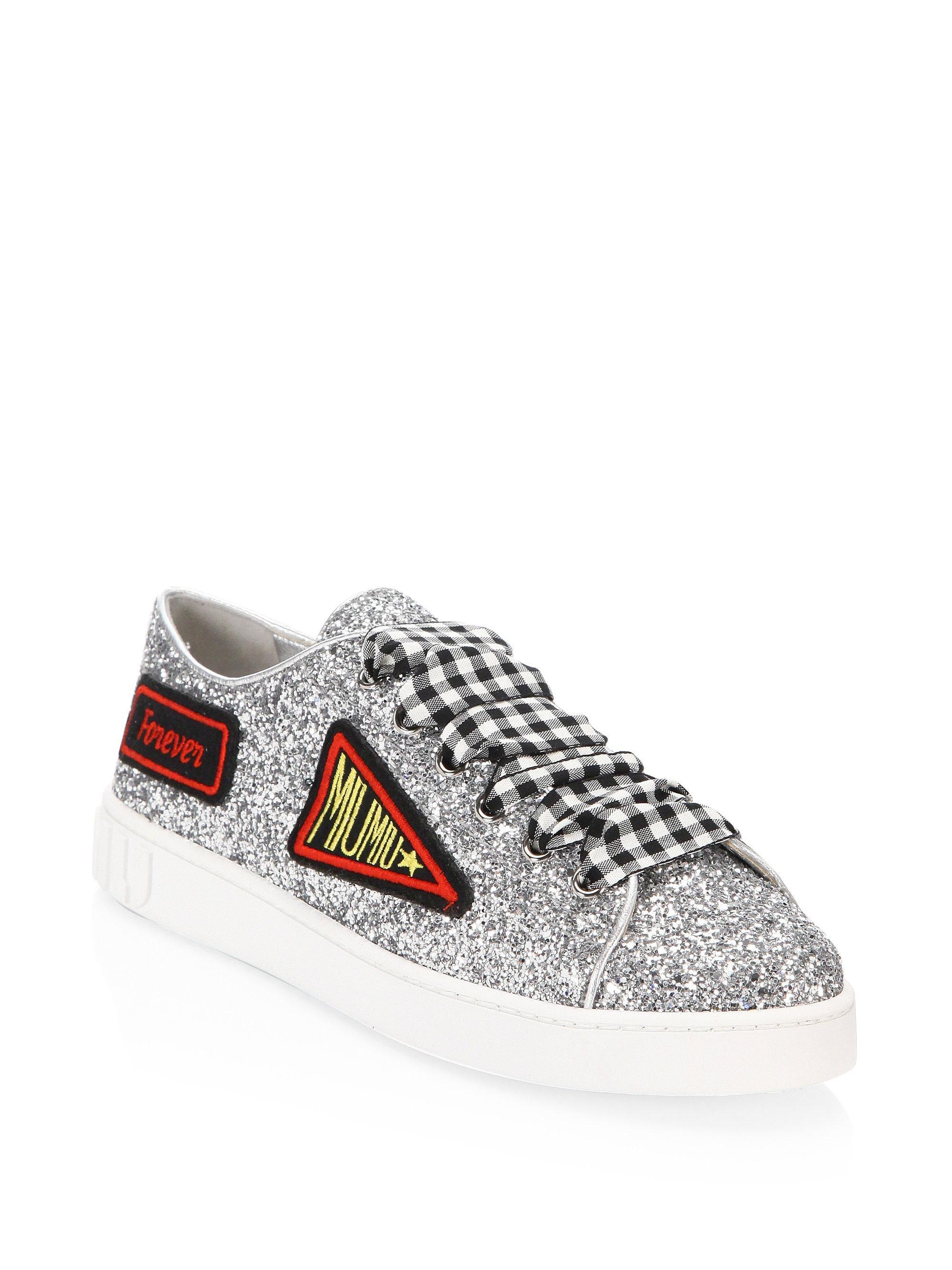 patch embroidered glittered sneakers - Metallic Miu Miu xmNpqv