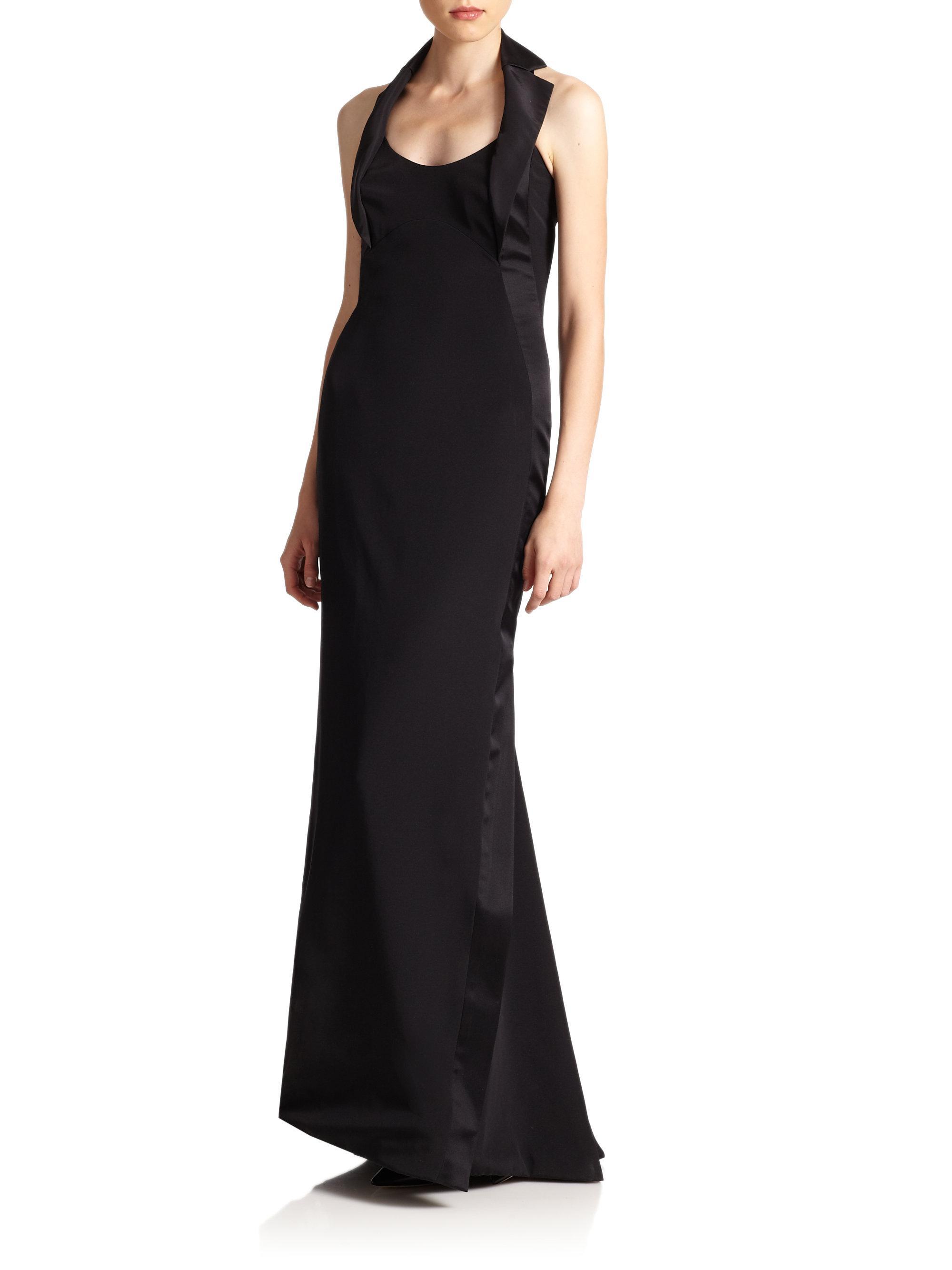Lyst - Carolina Herrera Icon Collection Silk Tuxedo Gown in Black
