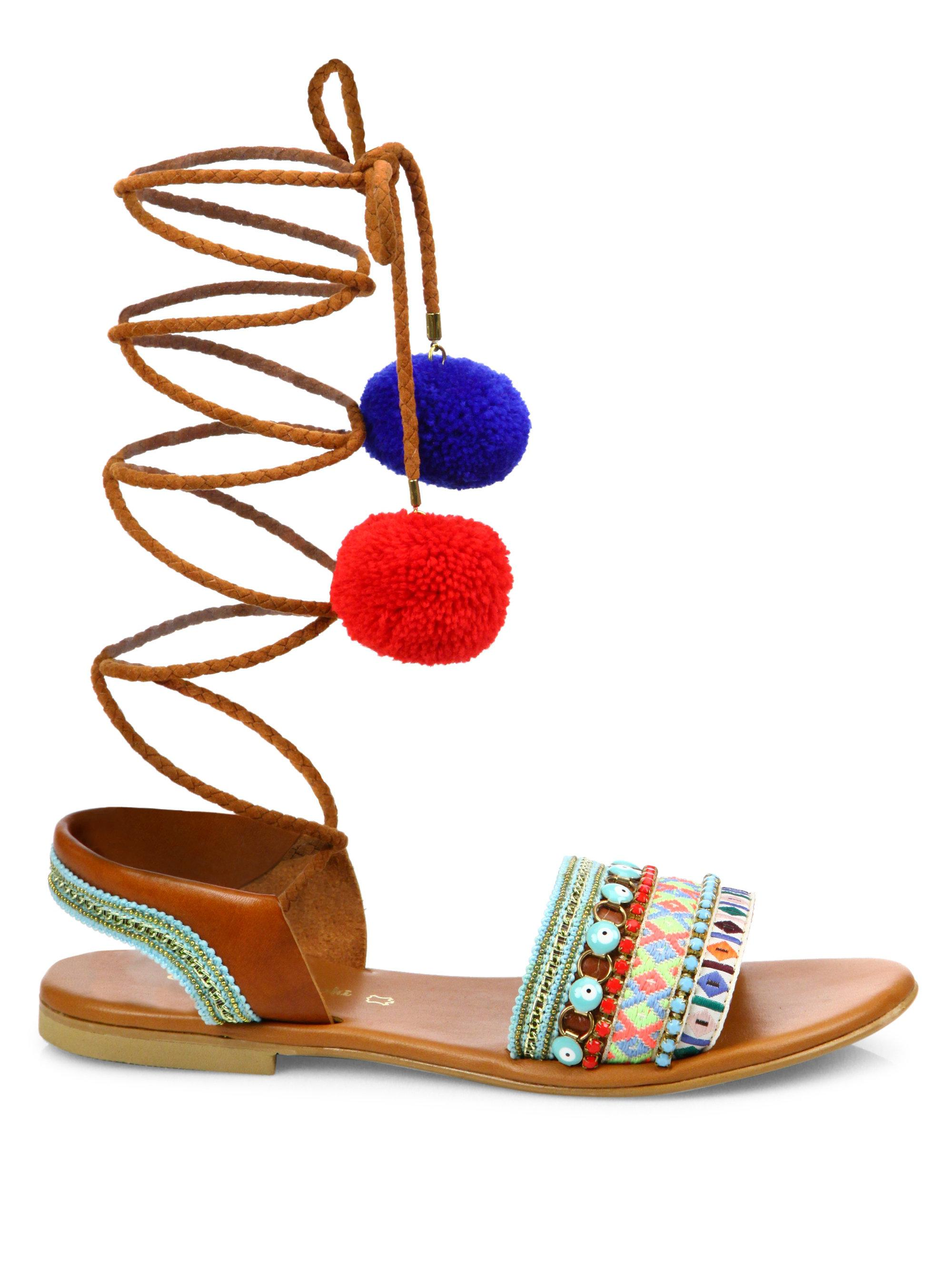 Elina Linardaki - Multicolor L.a. Lover Embroidered Leather High-wrap  Sandals - Lyst. View Fullscreen