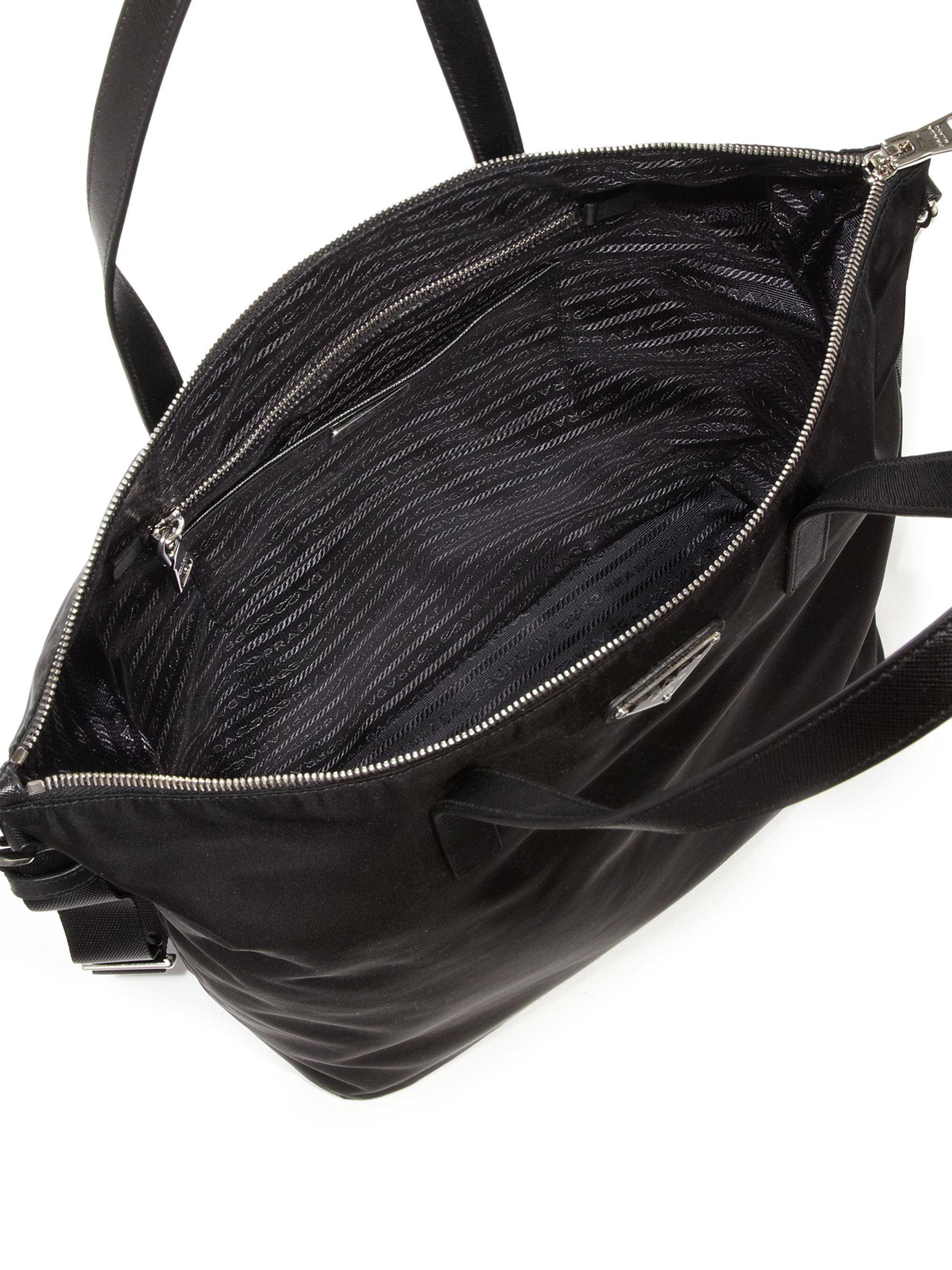 666238a3bd68 Lyst - Prada Nylon   Leather Zip Tote in Black