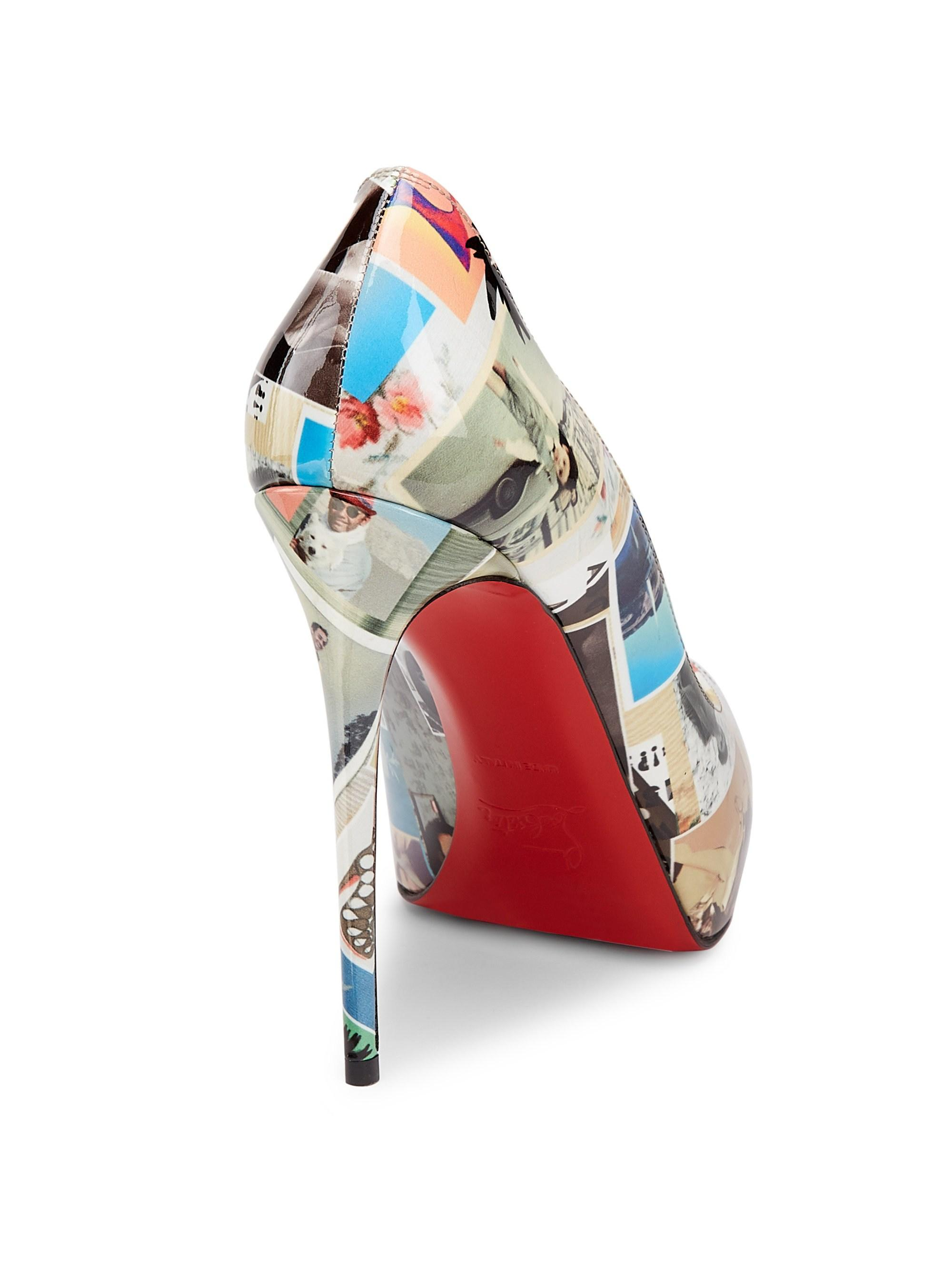 17d8bb24395 Christian Louboutin New Very Privé 120 Printed Patent Leather Peep ...