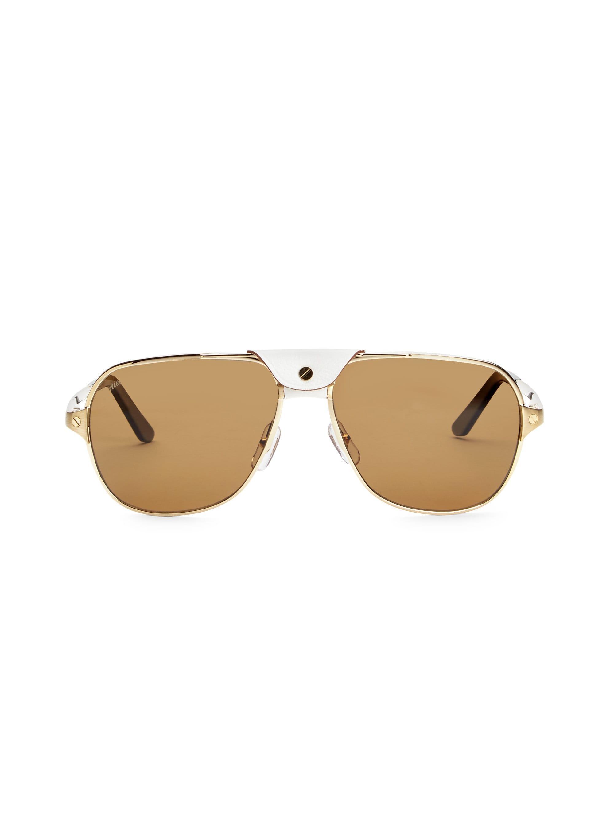 805ac012ef1cc Lyst - Cartier Women s 60mm Aviator Sunglasses - Gold in Metallic