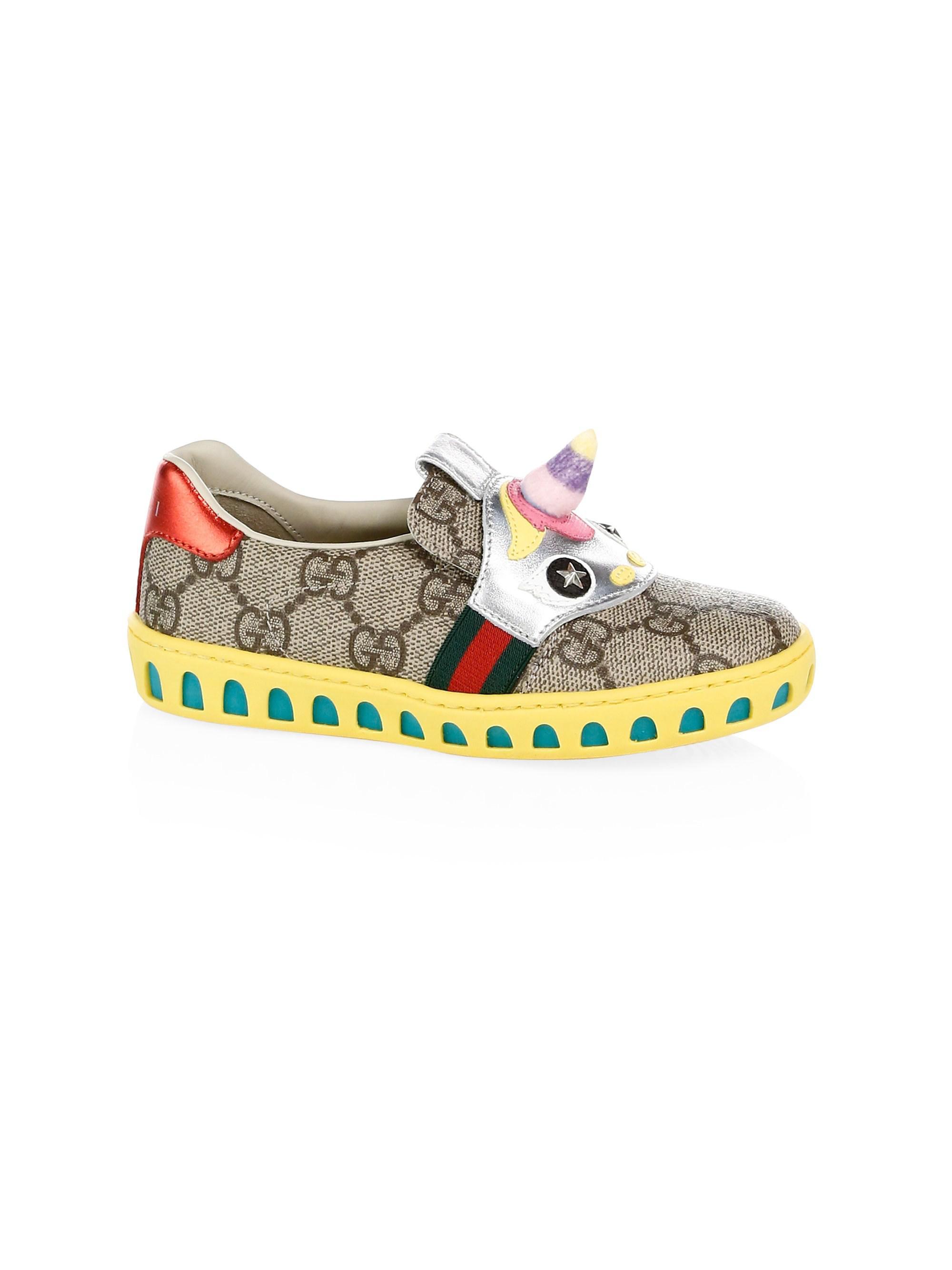 99a43f8e1 Gucci Girl's GG Supreme Canvas Unicorn Sneakers in Blue - Lyst