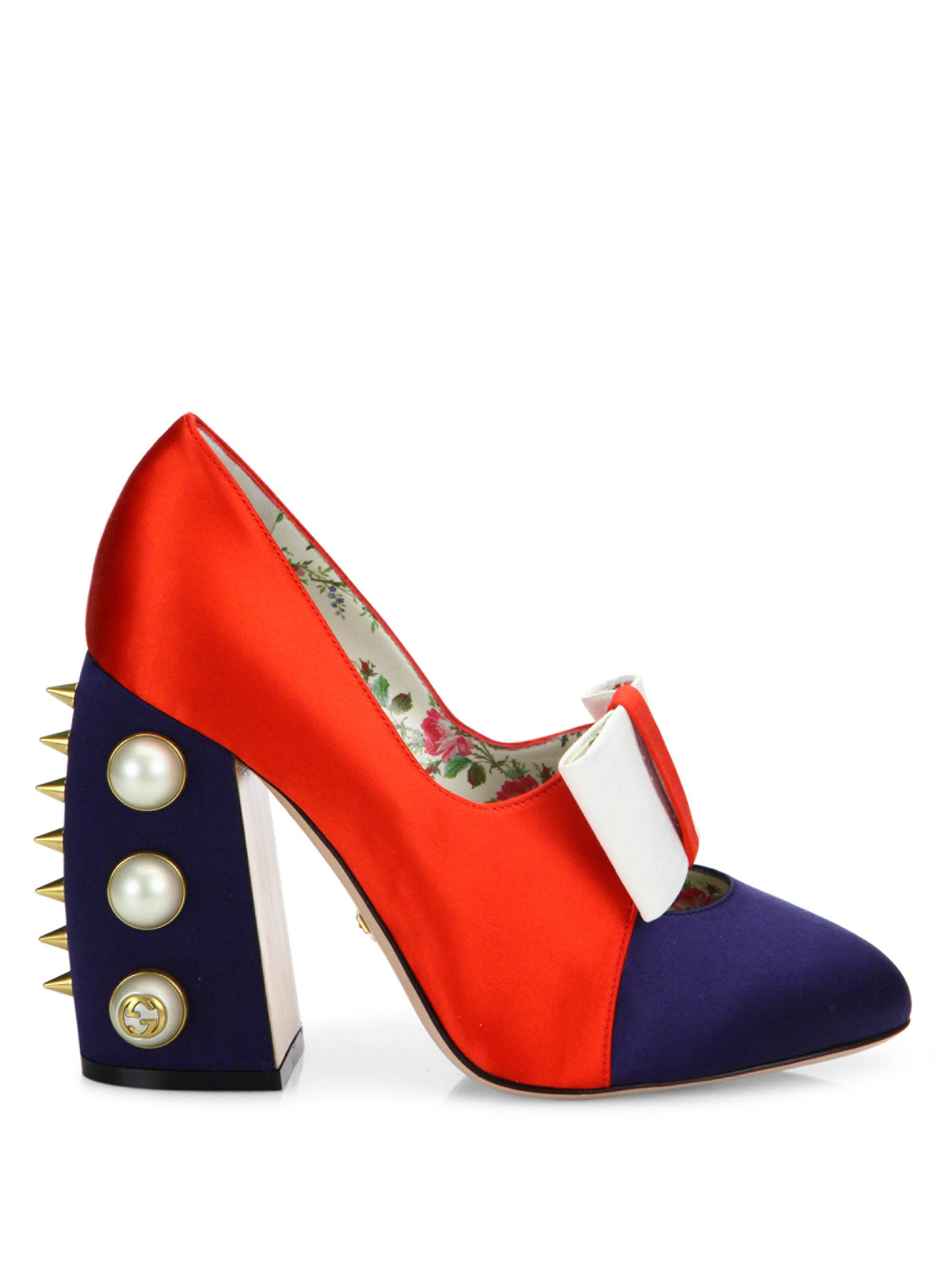 971731027f1 Lyst - Gucci Luna Studded Block Heel Colorblock Satin Pumps in Red