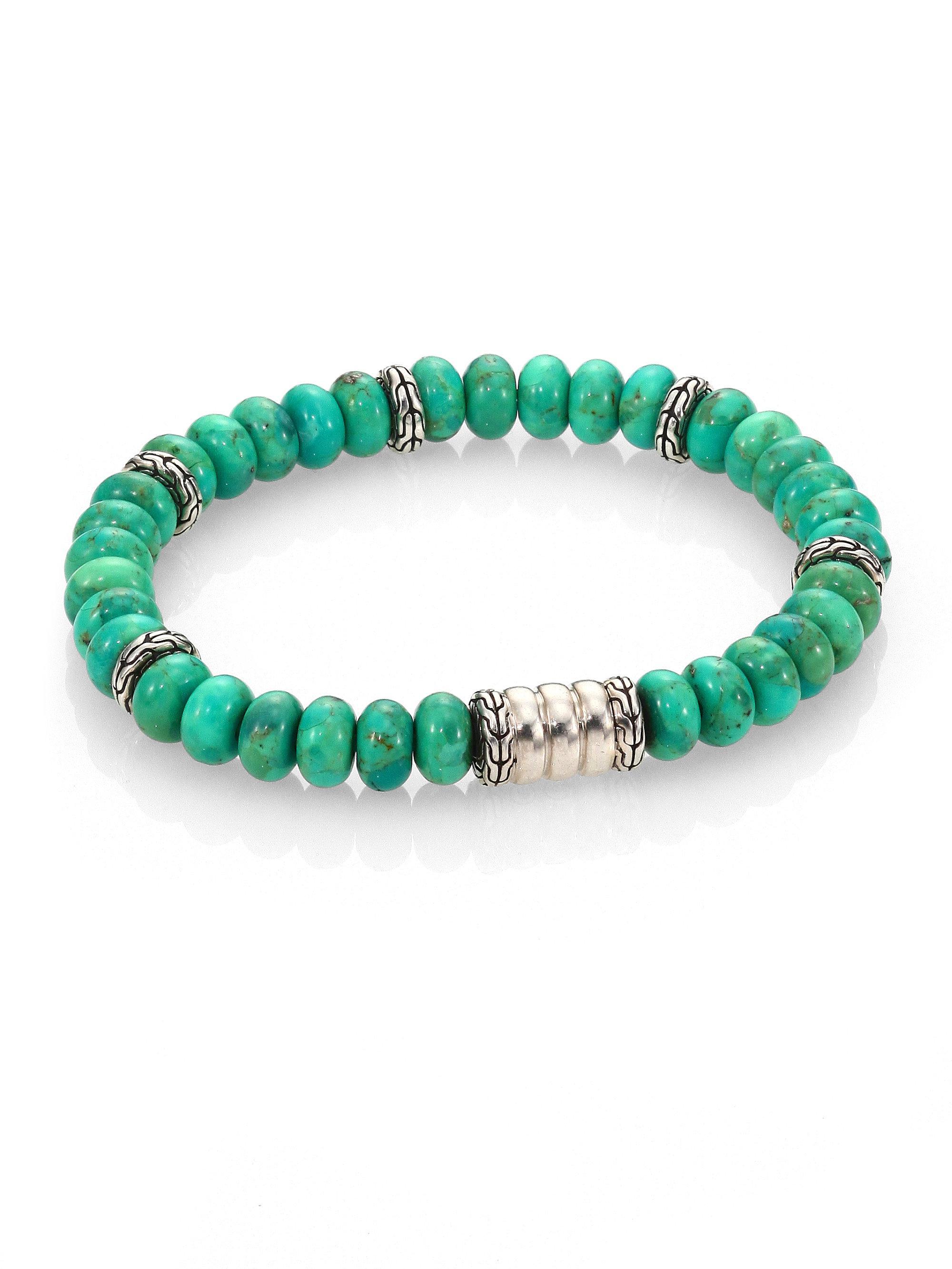 John Hardy Mohave Bedeg Mens Beaded Bracelet, Green