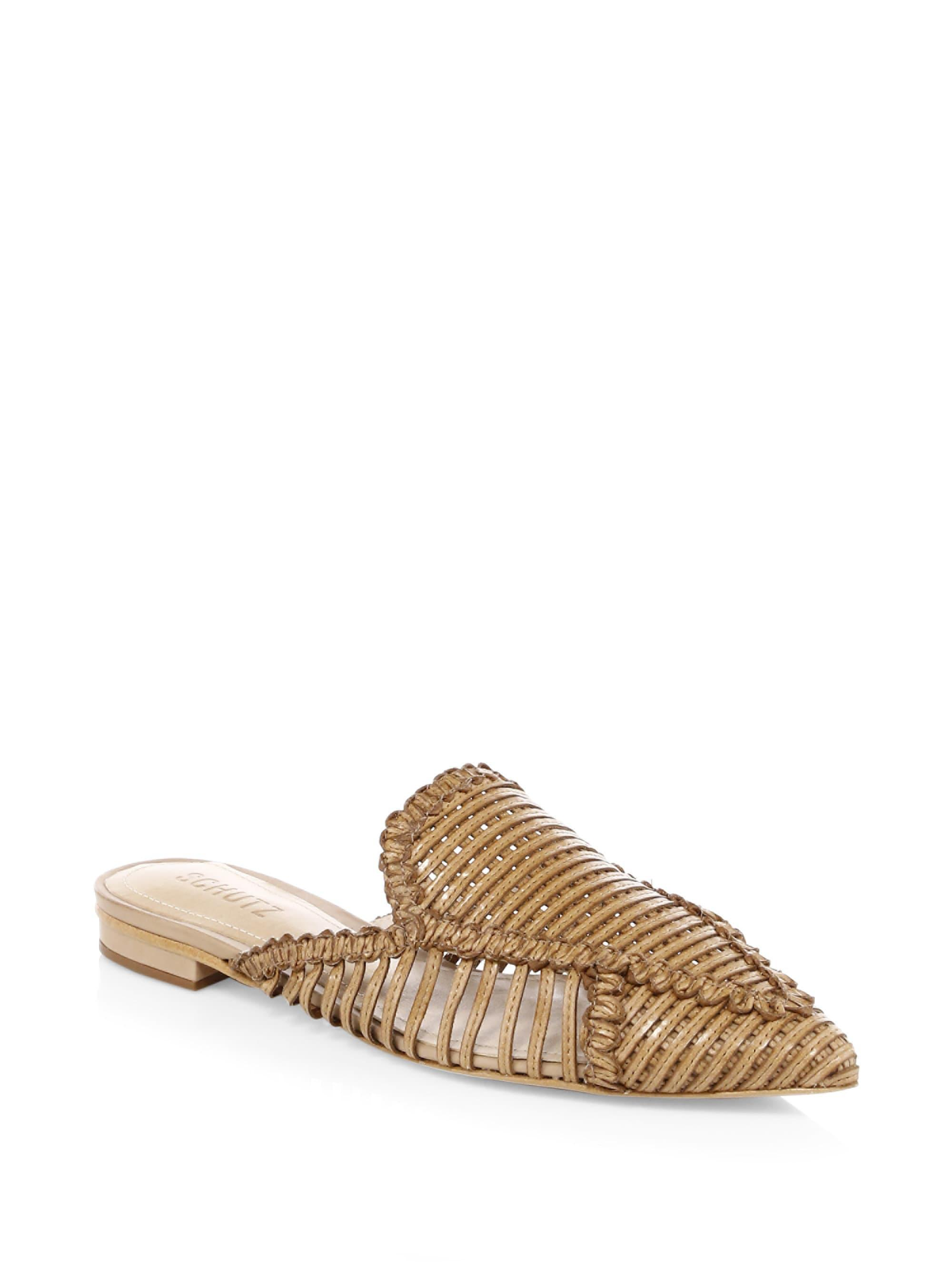 Schutz Leather Basket Weave Mules 74IaZt4h