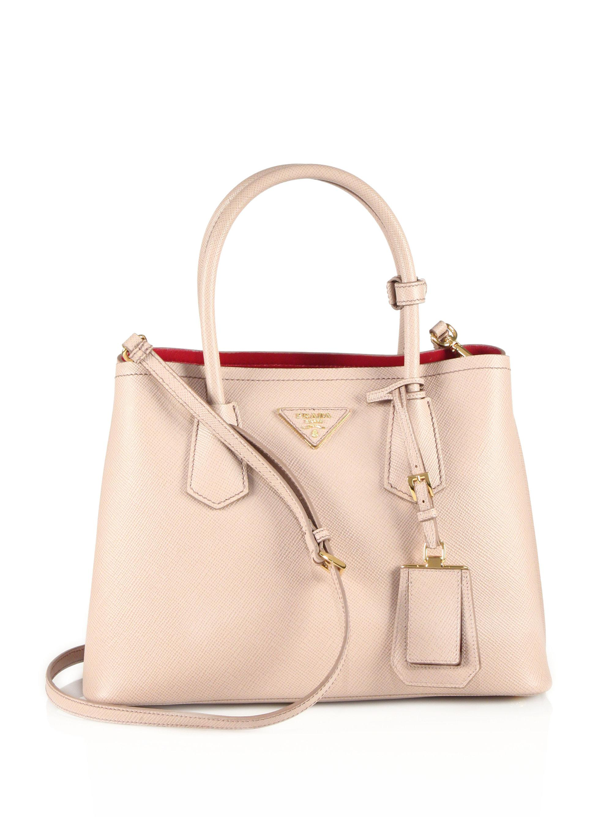 e86dfcc8d7b3 ... where to buy lyst prada saffiano cuir small double bag in natural f8901  0db33