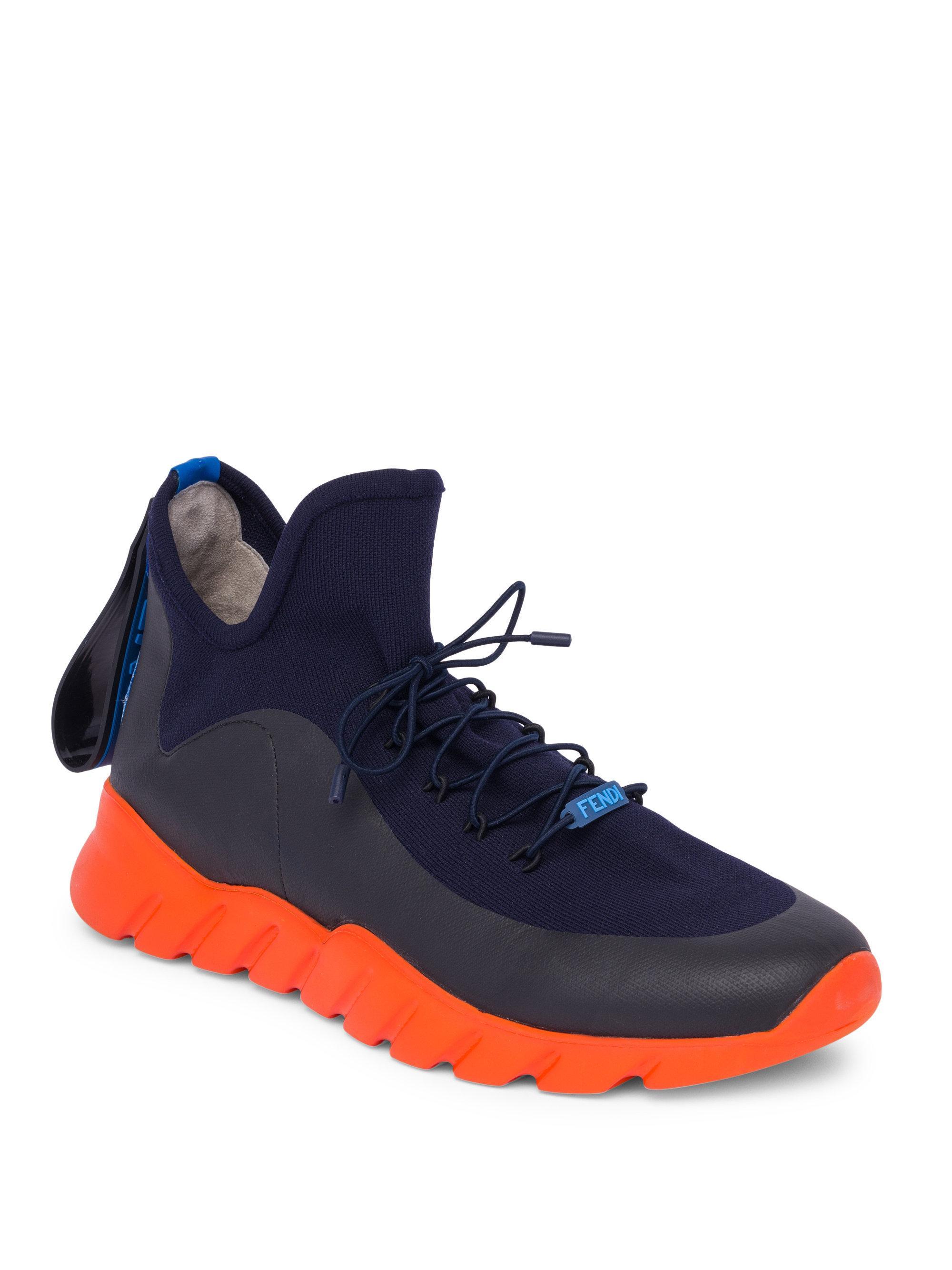 Fendi. Men's Blue Knit Think Colorblock Sneakers