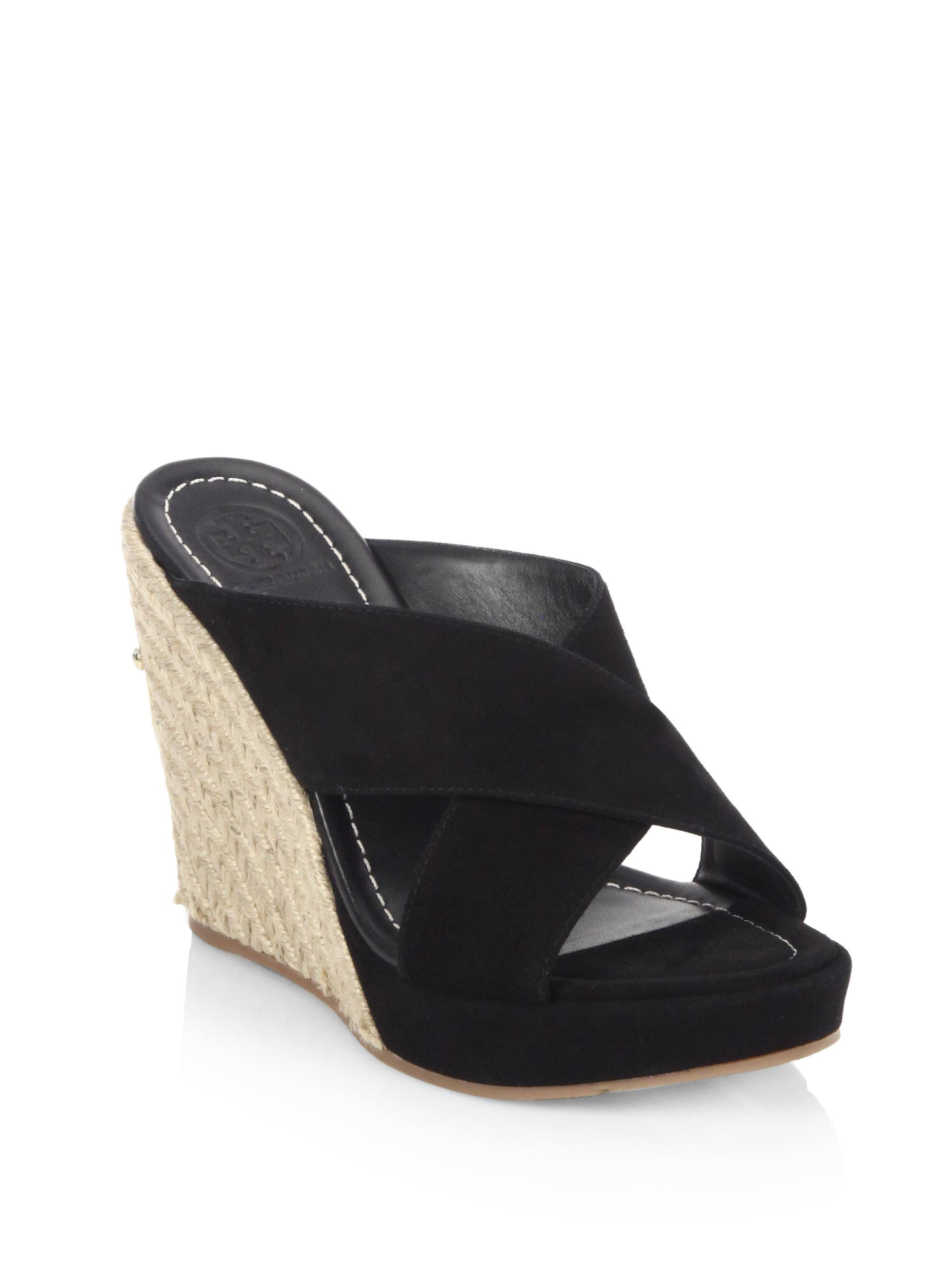 b5d0c0d29437 Lyst - Tory Burch Bailey Leather Wedge Mules in Black