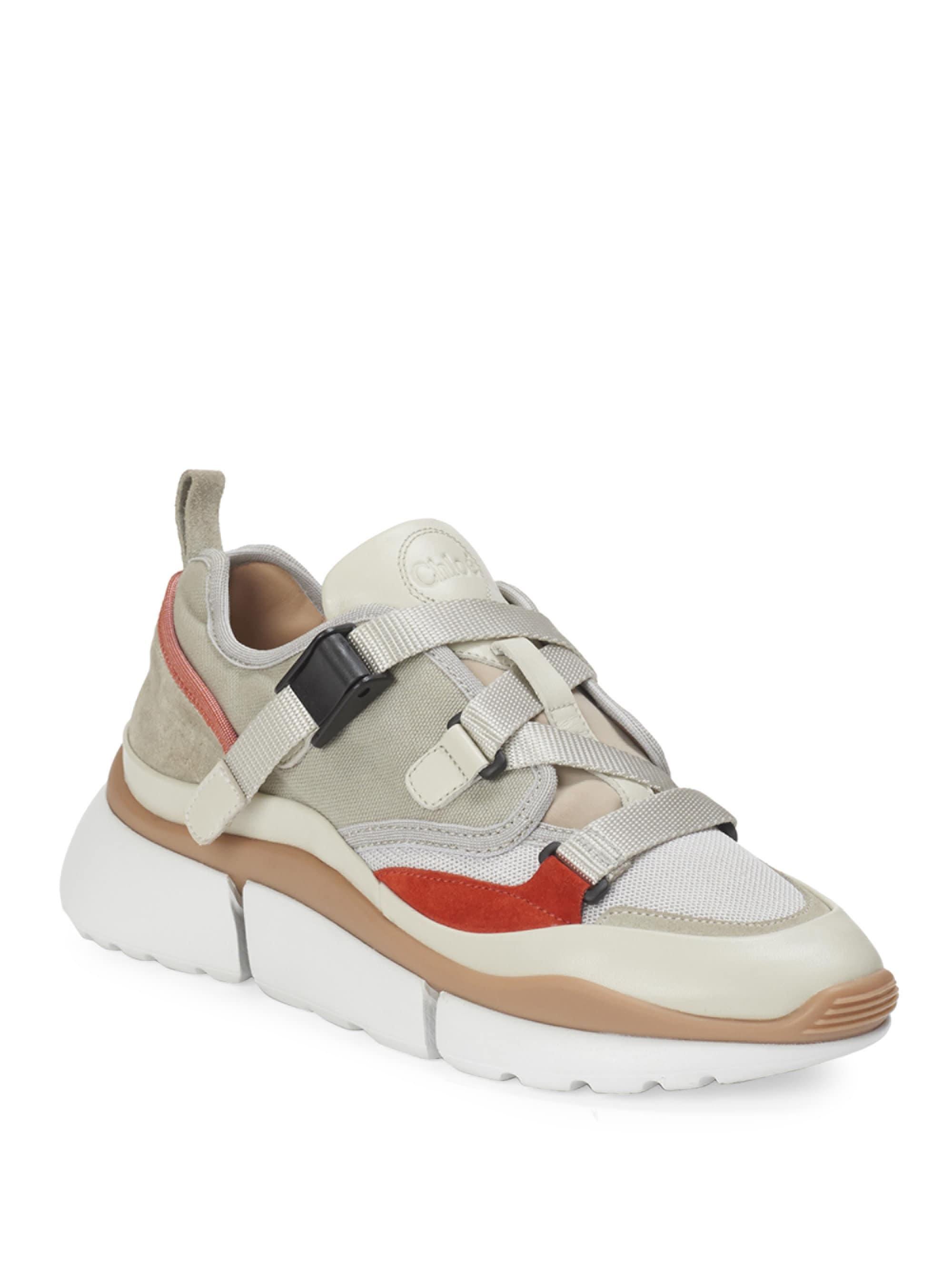 Brand New Unisex For Sale Looking For Cheap Online Sneakers SONNIE calfskin cotton nylon polyester smooth leather Logo beige Chlo Buy Cheap Comfortable oNG3D