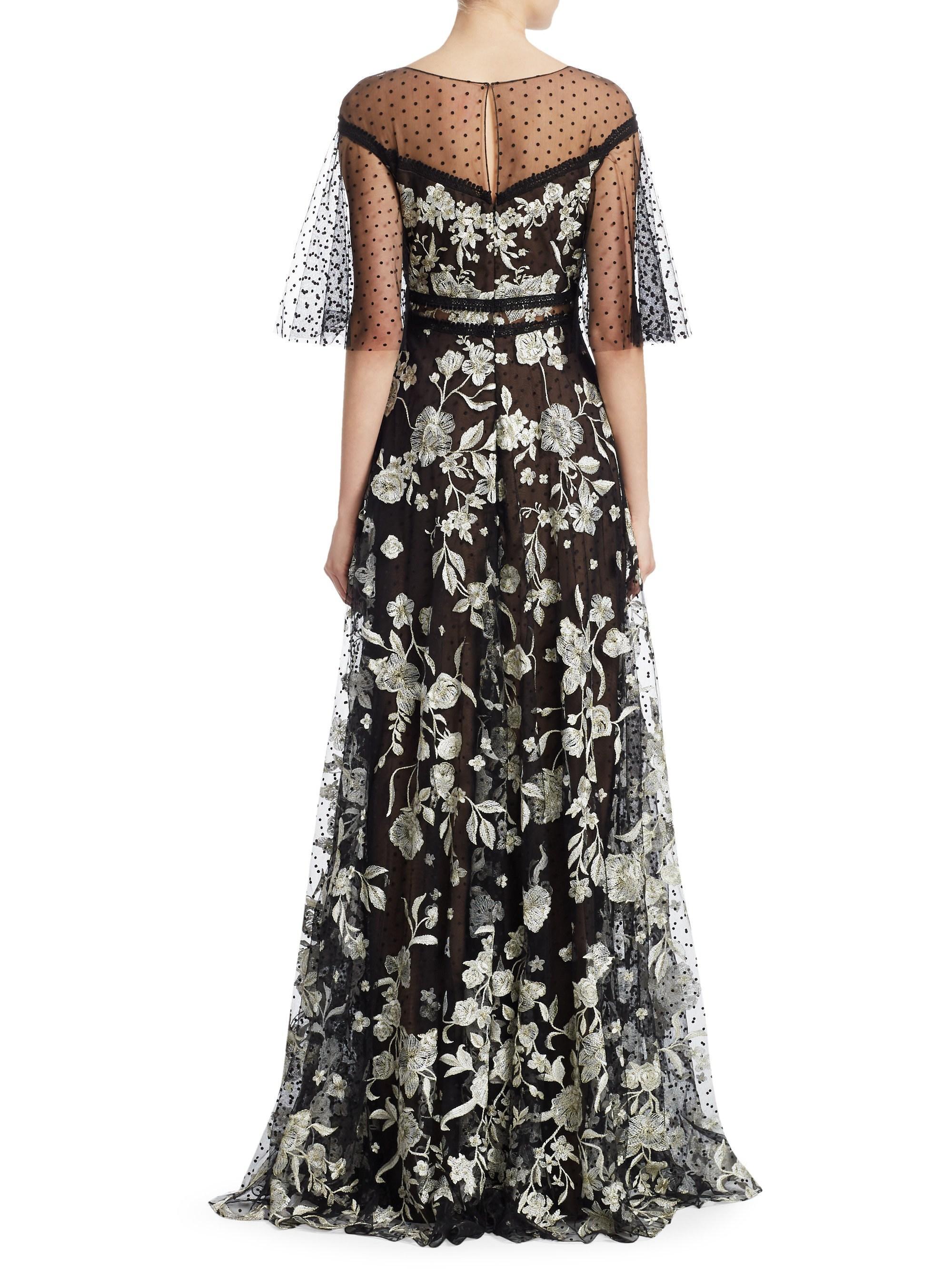 7ec22fd8ef5 Lyst - Marchesa notte Women s Flutter Sleeve Flock Gown - Black White - Size  8 in Black