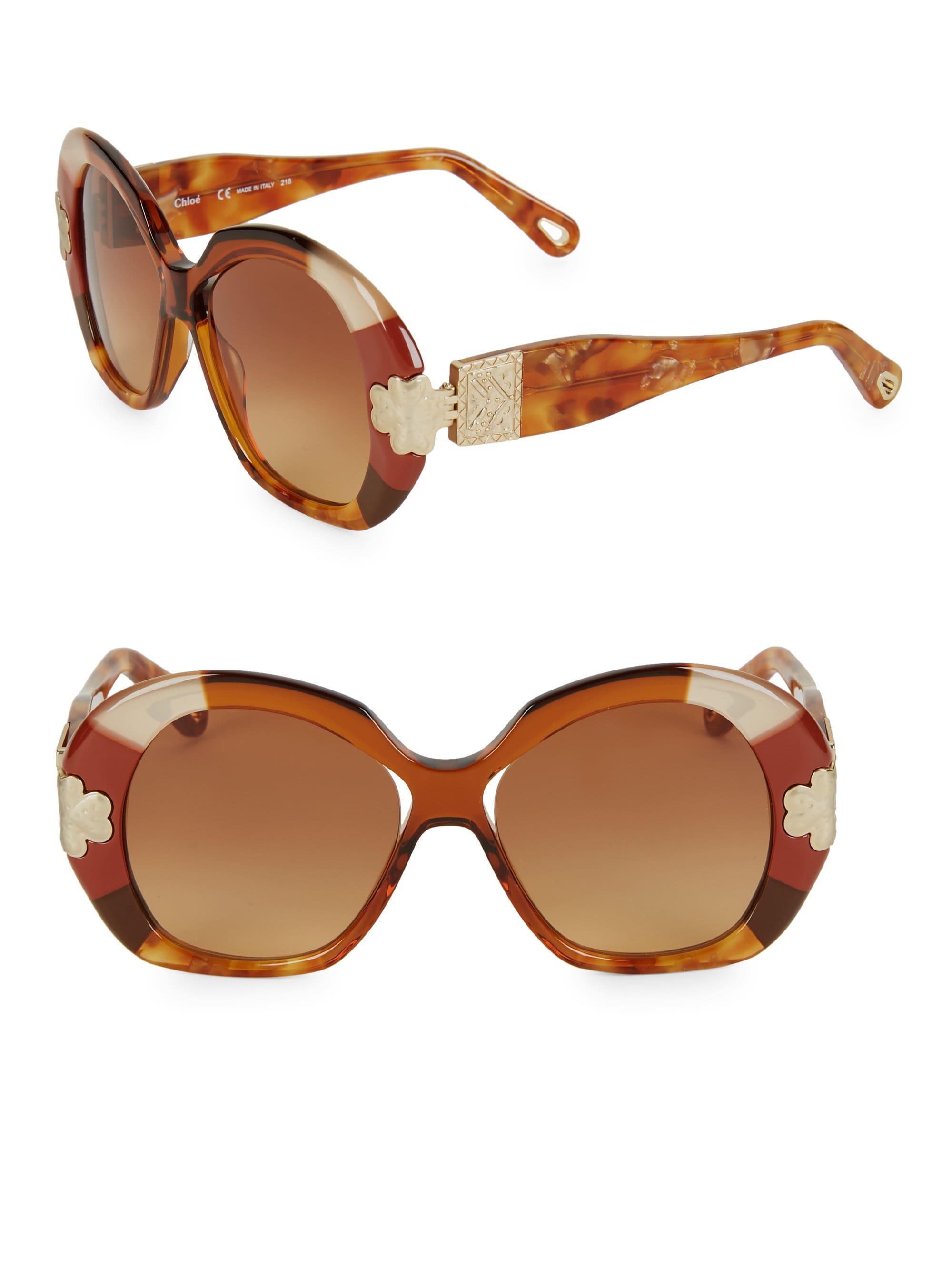 a6e1bc6864e Chloé Venus 54mm Round Sunglasses in Brown - Lyst
