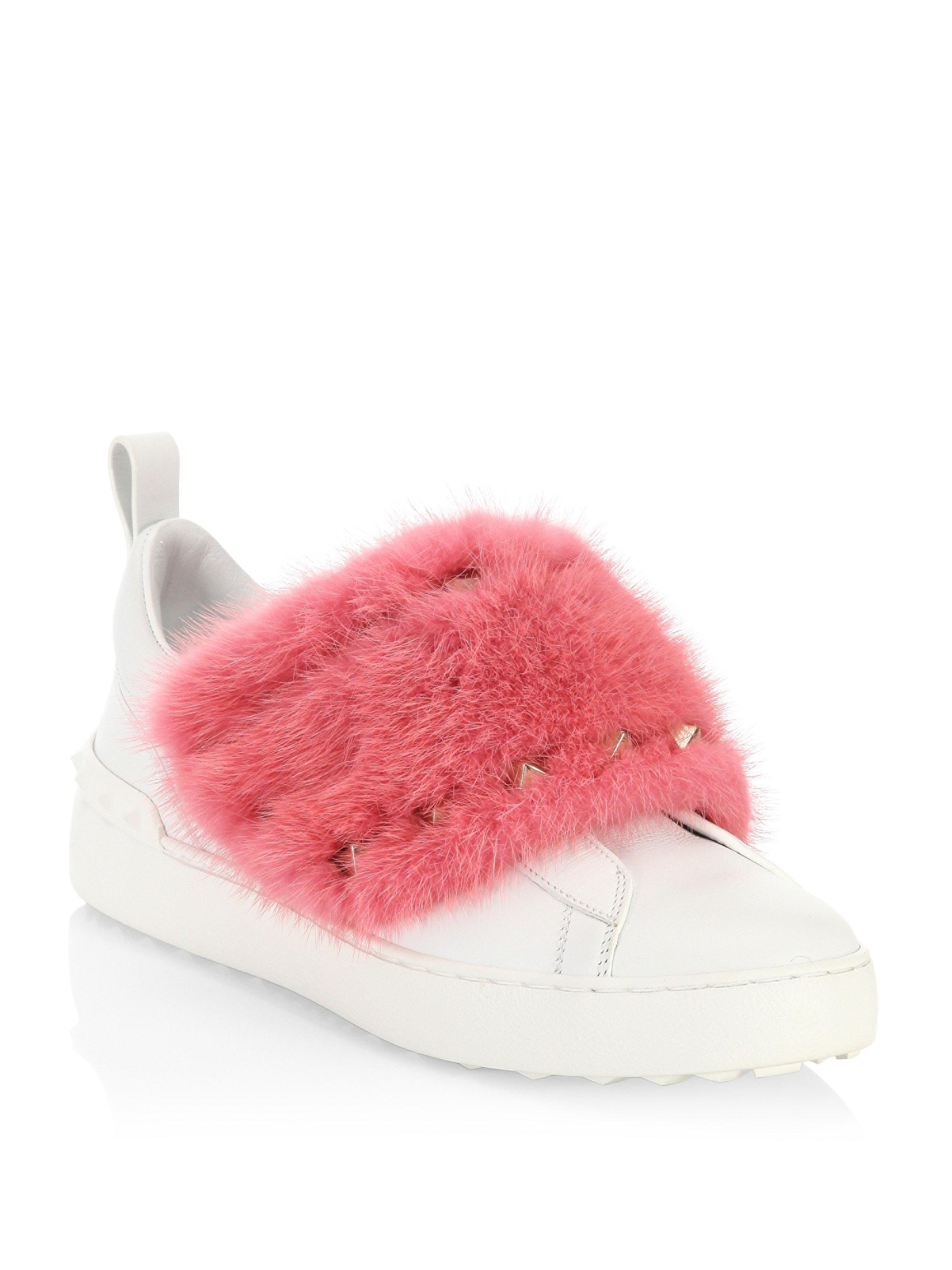 Valentino Fur and stud sneakers maaoXy