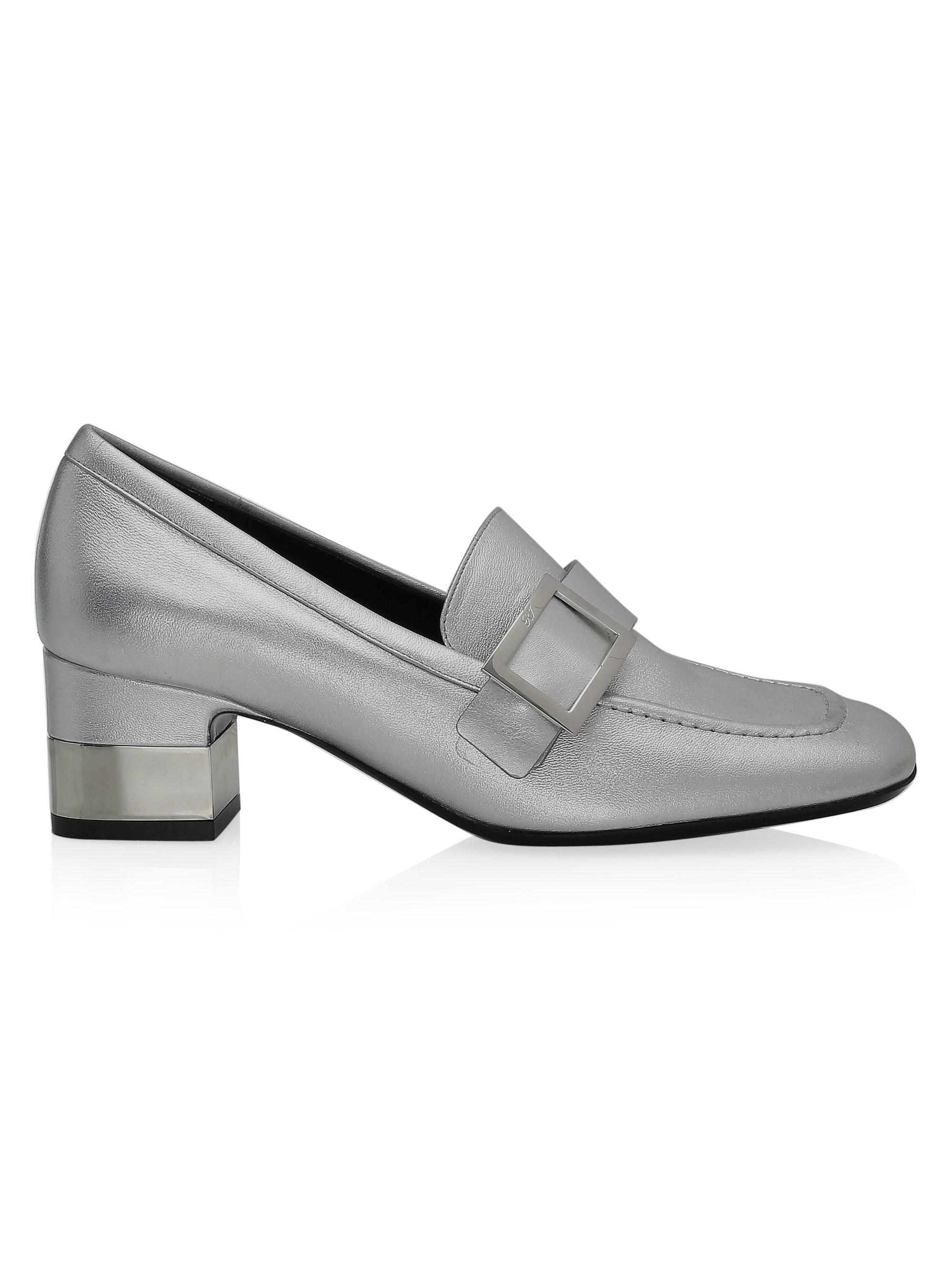 c043ed48798 Lyst - Roger Vivier Metallic Leather Heeled Buckle Loafers in Metallic