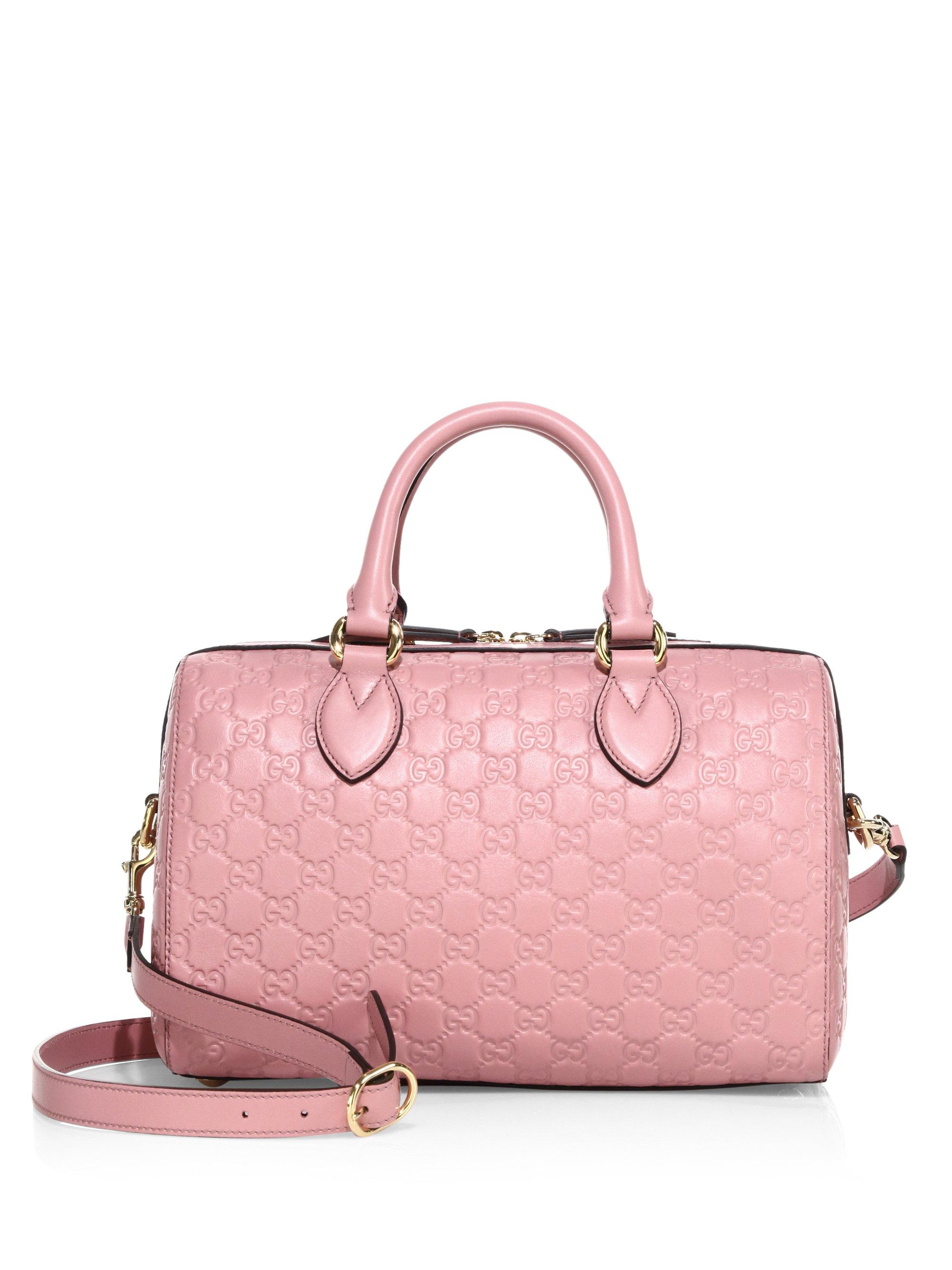 37fabbc7def8 Gucci Medium Soft Signature Leather Boston Bag in Pink - Lyst