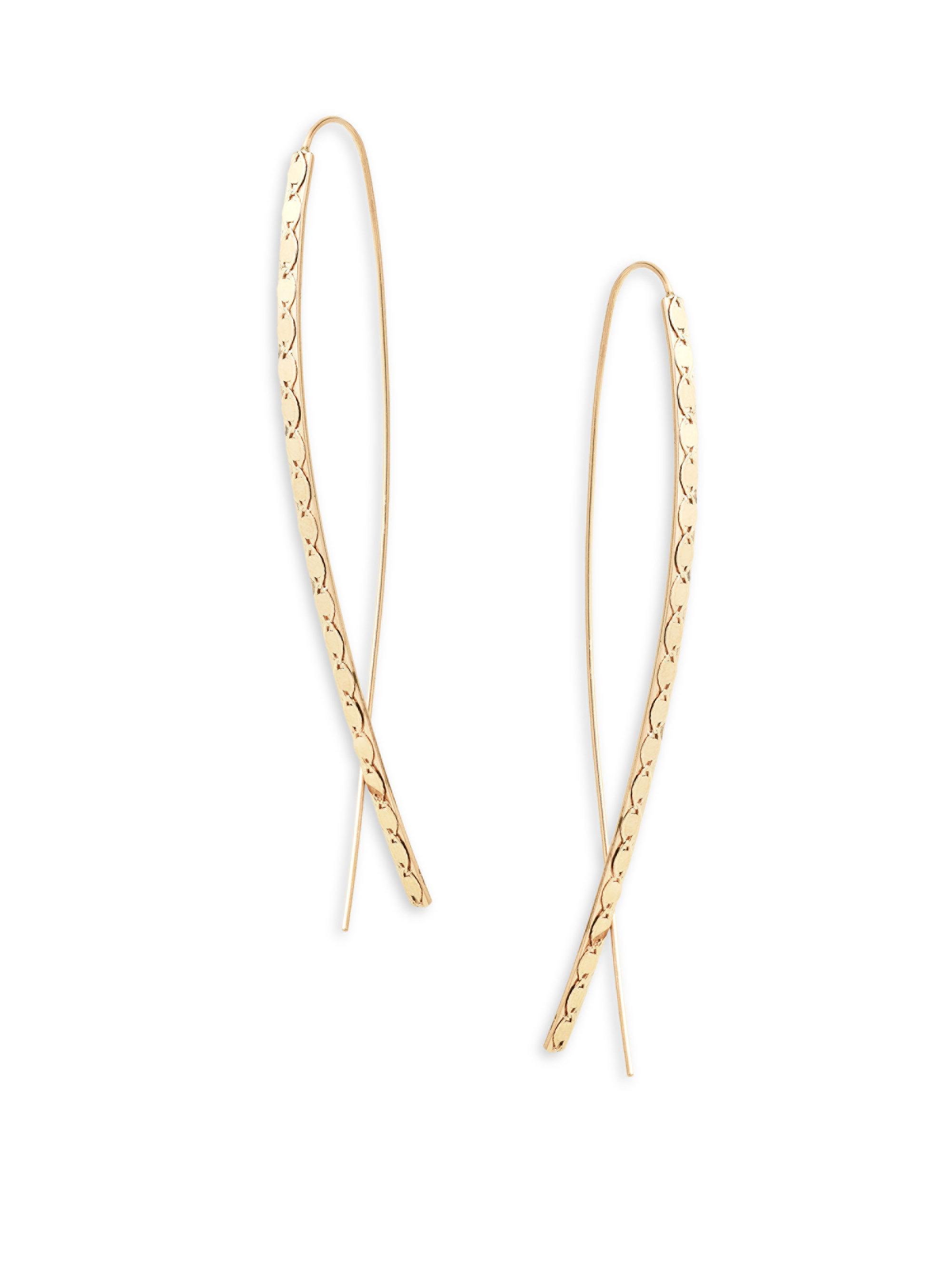Lana Jewelry 14k Elite Narrow Upside Down Hoop Earrings H6kIEa9