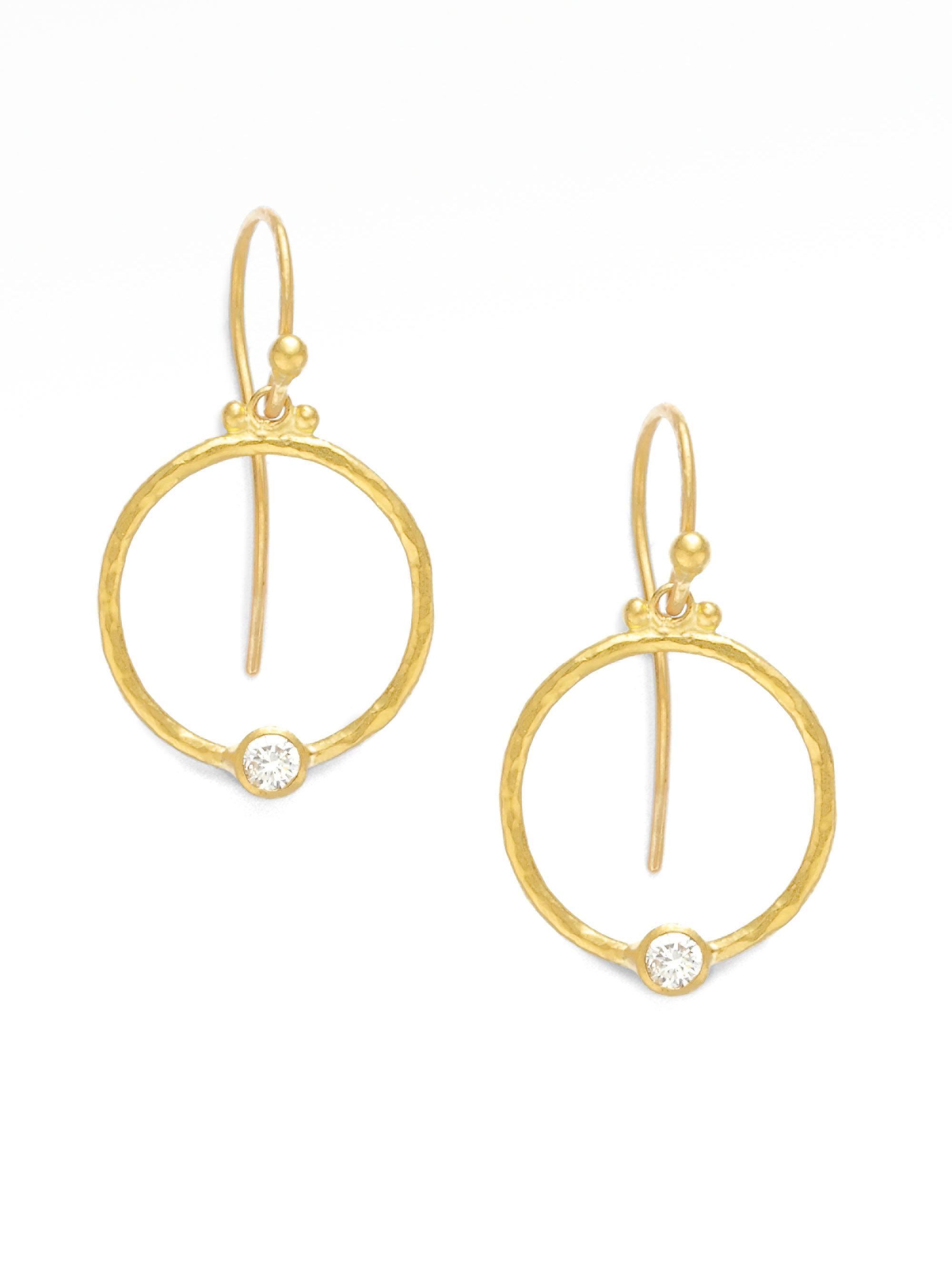 Gurhan Women S Metallic 24k Gold Diamond Hoop Earrings