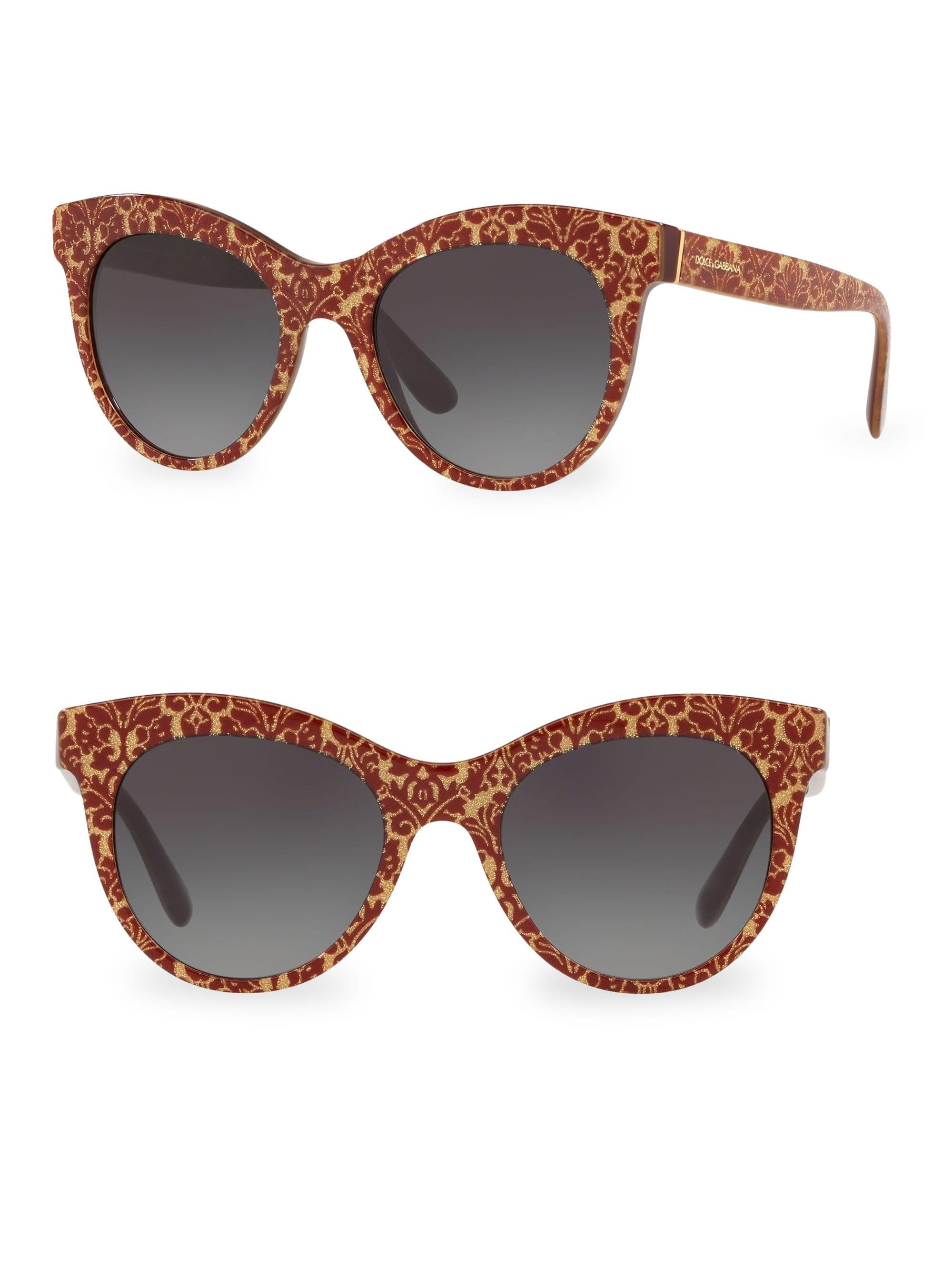 a015d854ef4 Dolce   Gabbana. Metallic Women s Dg4311 Glitter Floral 51mm Cat Eye  Sunglasses - Red Gold