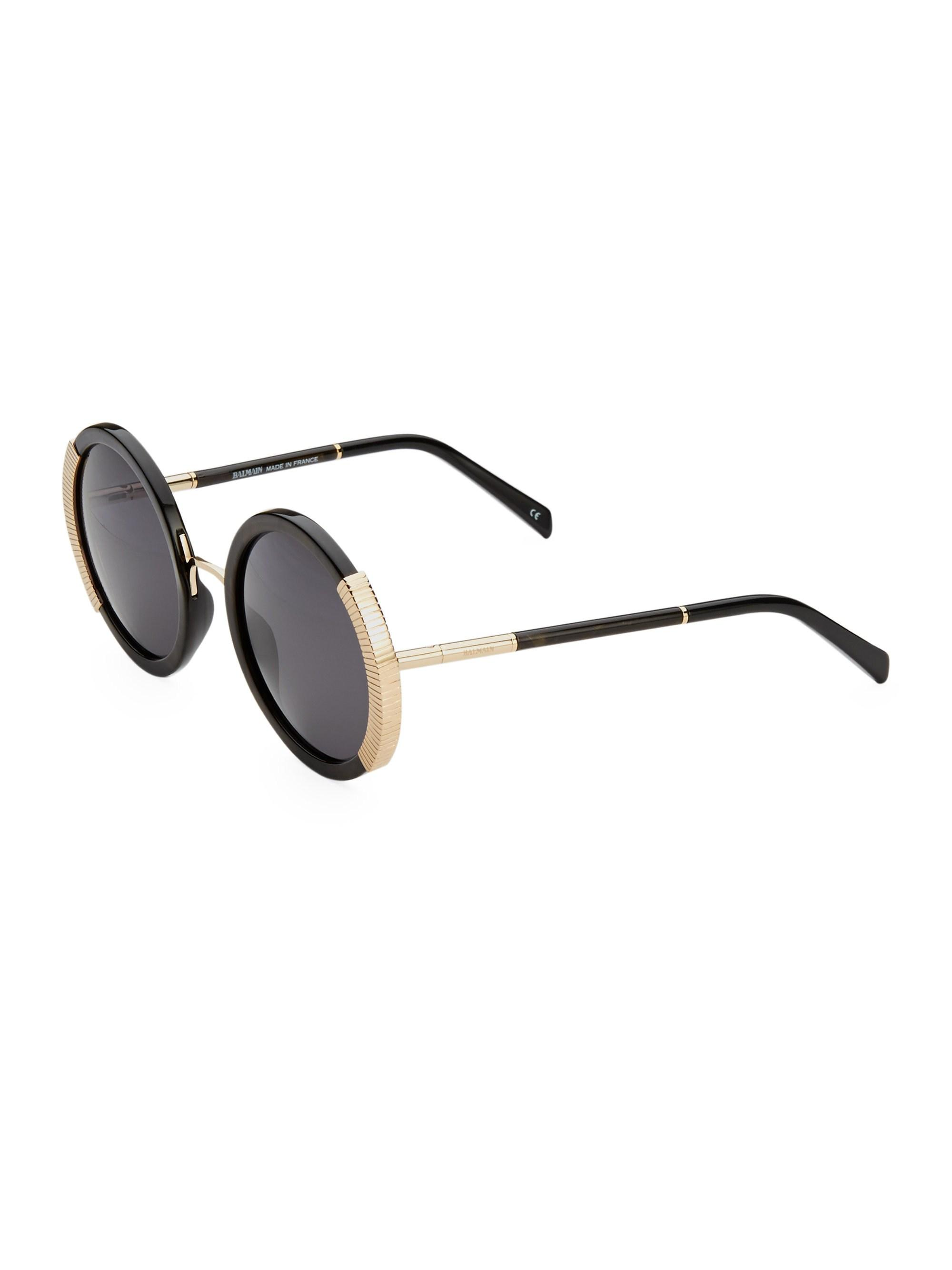 d565e15960 Balmain - Multicolor Round Sunglasses With Gold Detail - Lyst. View  fullscreen