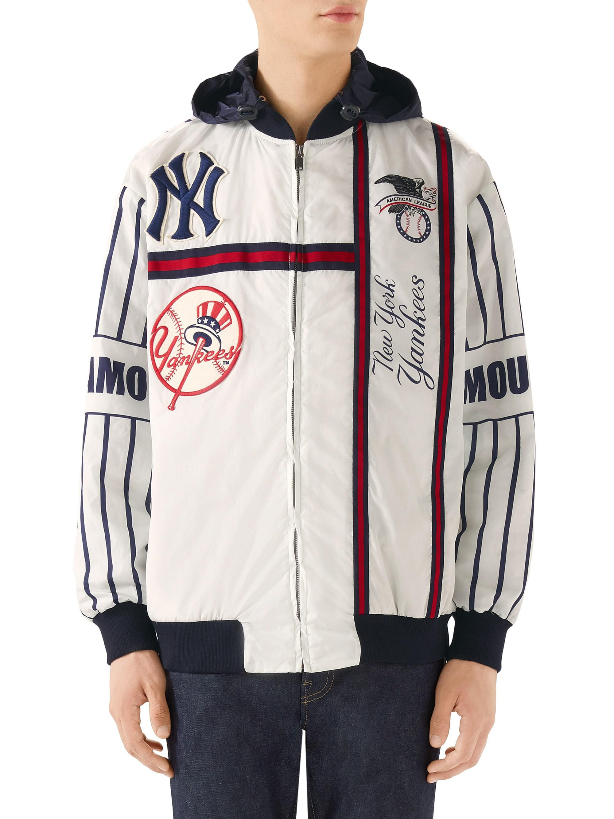 2e7694c31cd Gucci New York Yankees Striped Bomber Jacket in White for Men - Save ...