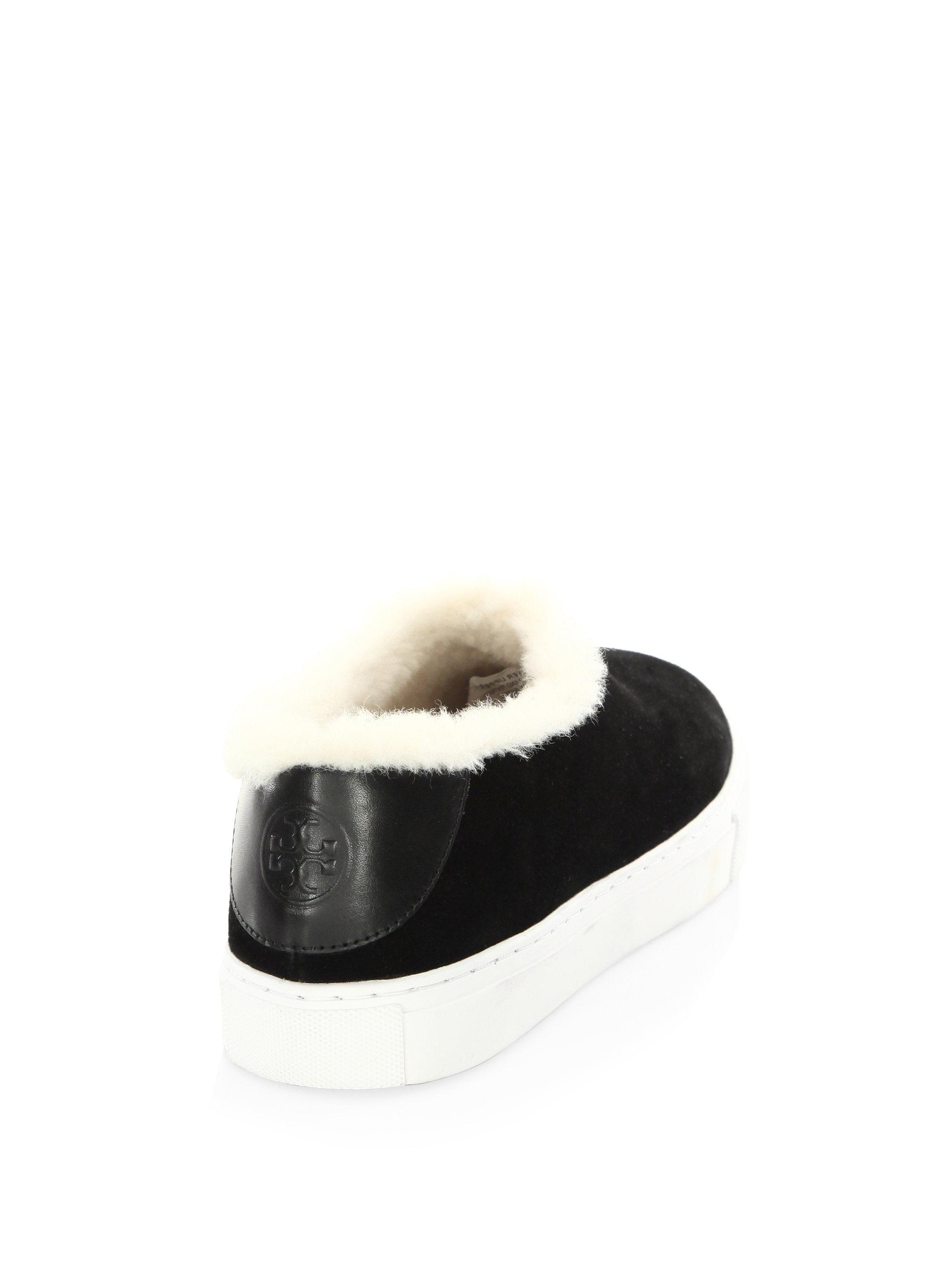 58592089ed1 Lyst - Tory Burch Miller Shearling Suede Slip-on Sneakers in Black