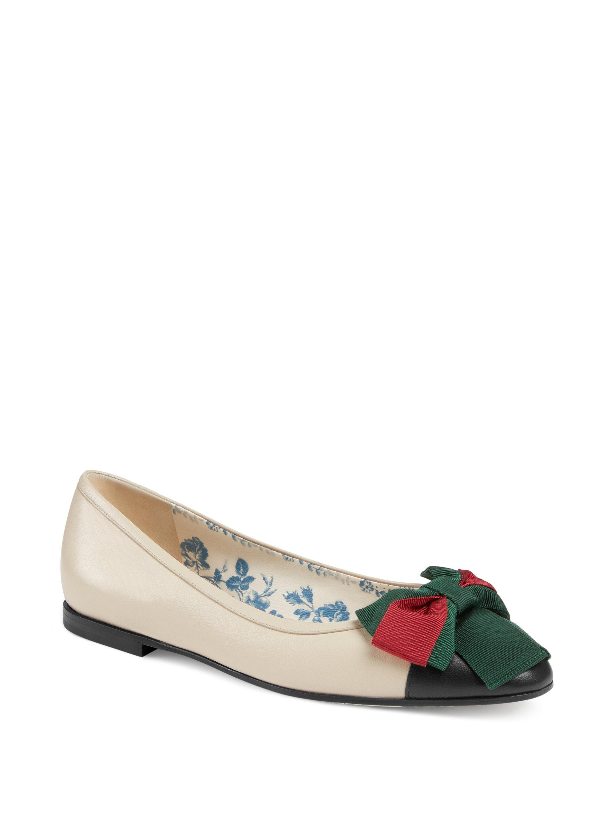 Gucci Sackville Leather Bow Ballerina Flats 2KwnFH6