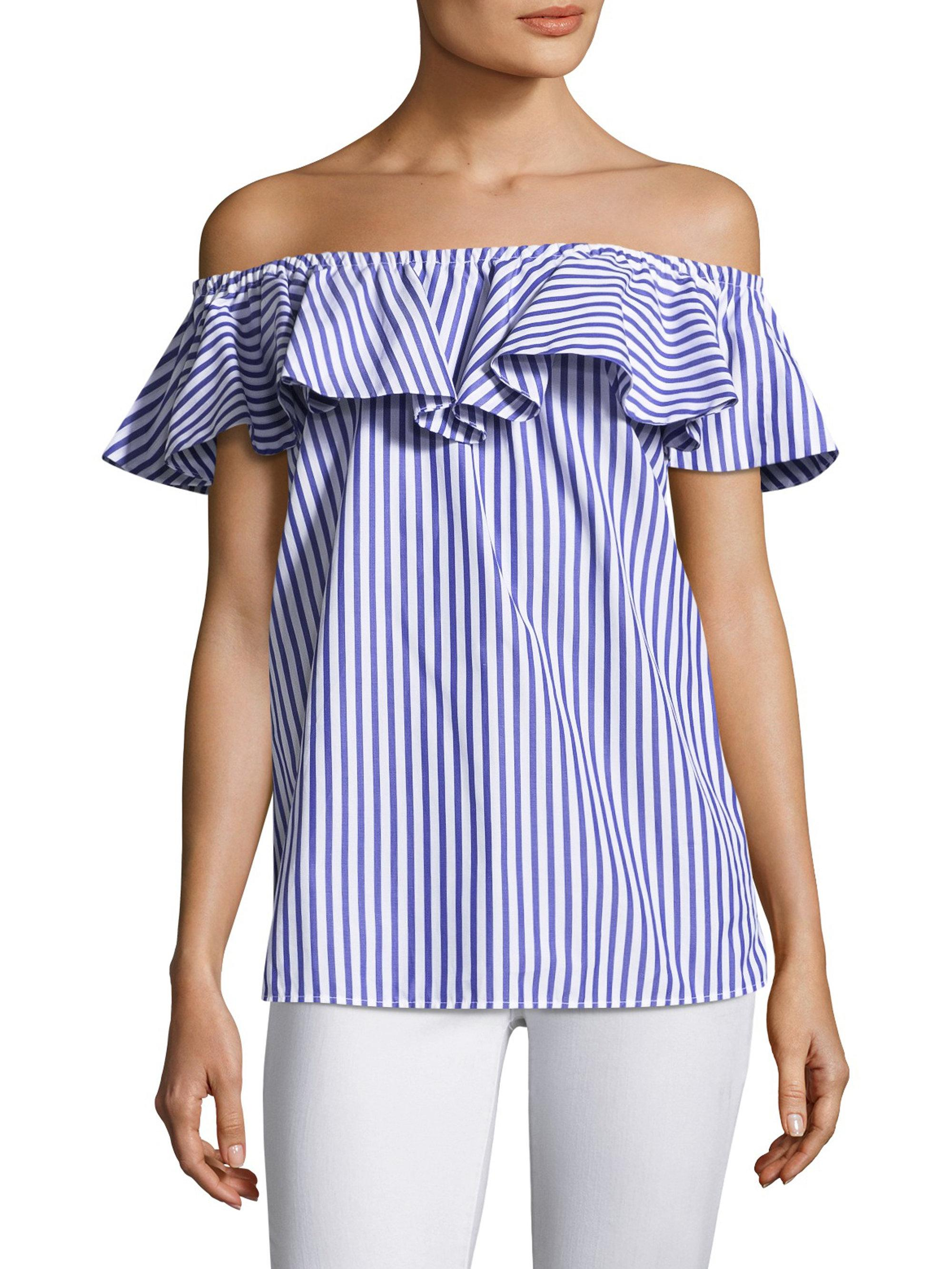 fa28ede54e276 Mds Stripes Off-the-shoulder Ruffle Cotton Top in Blue - Lyst