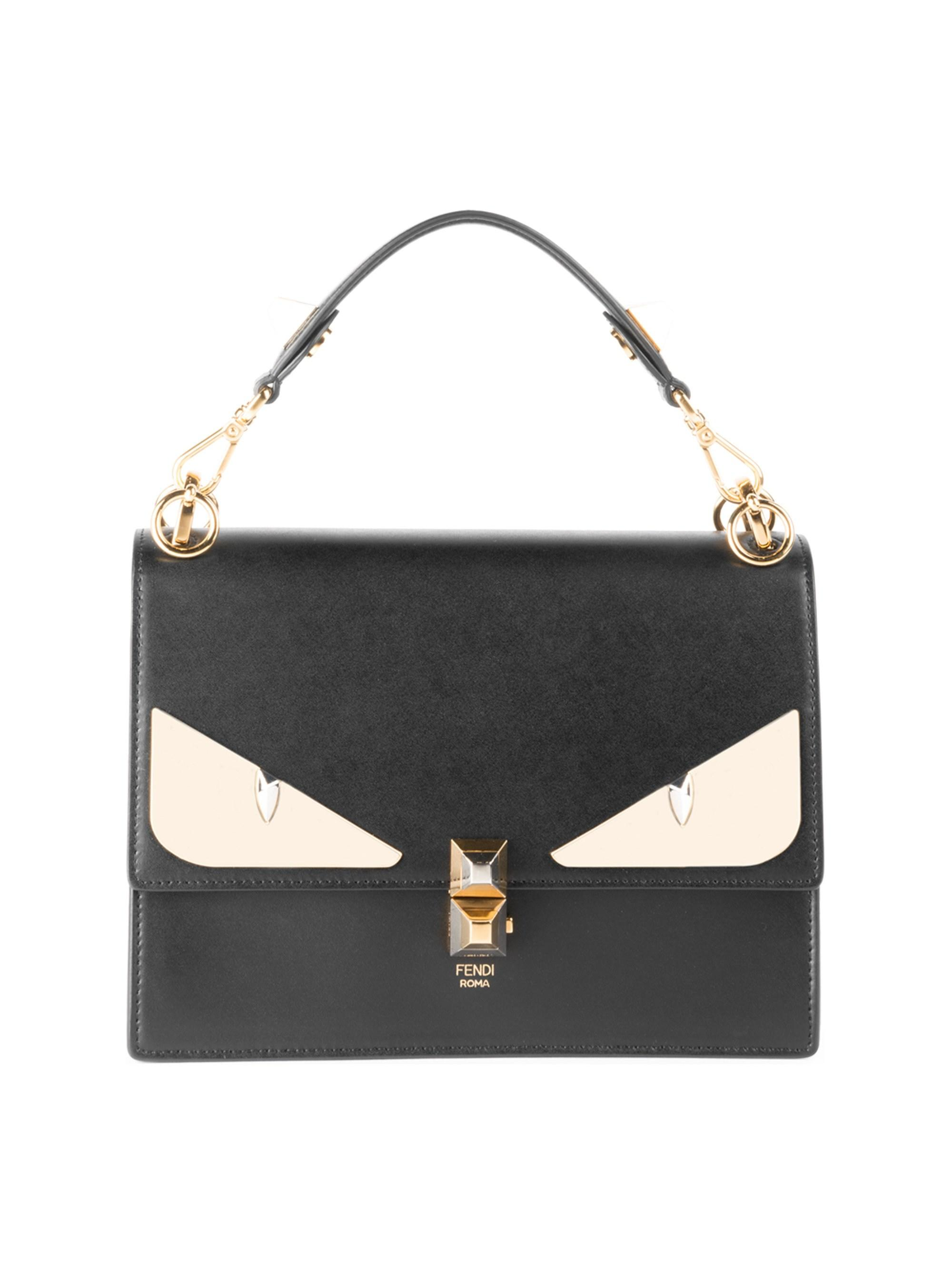 2809eadb410e Lyst - Fendi Women s Kan I Monster Eye Black Shoulder Bag - Black in ...